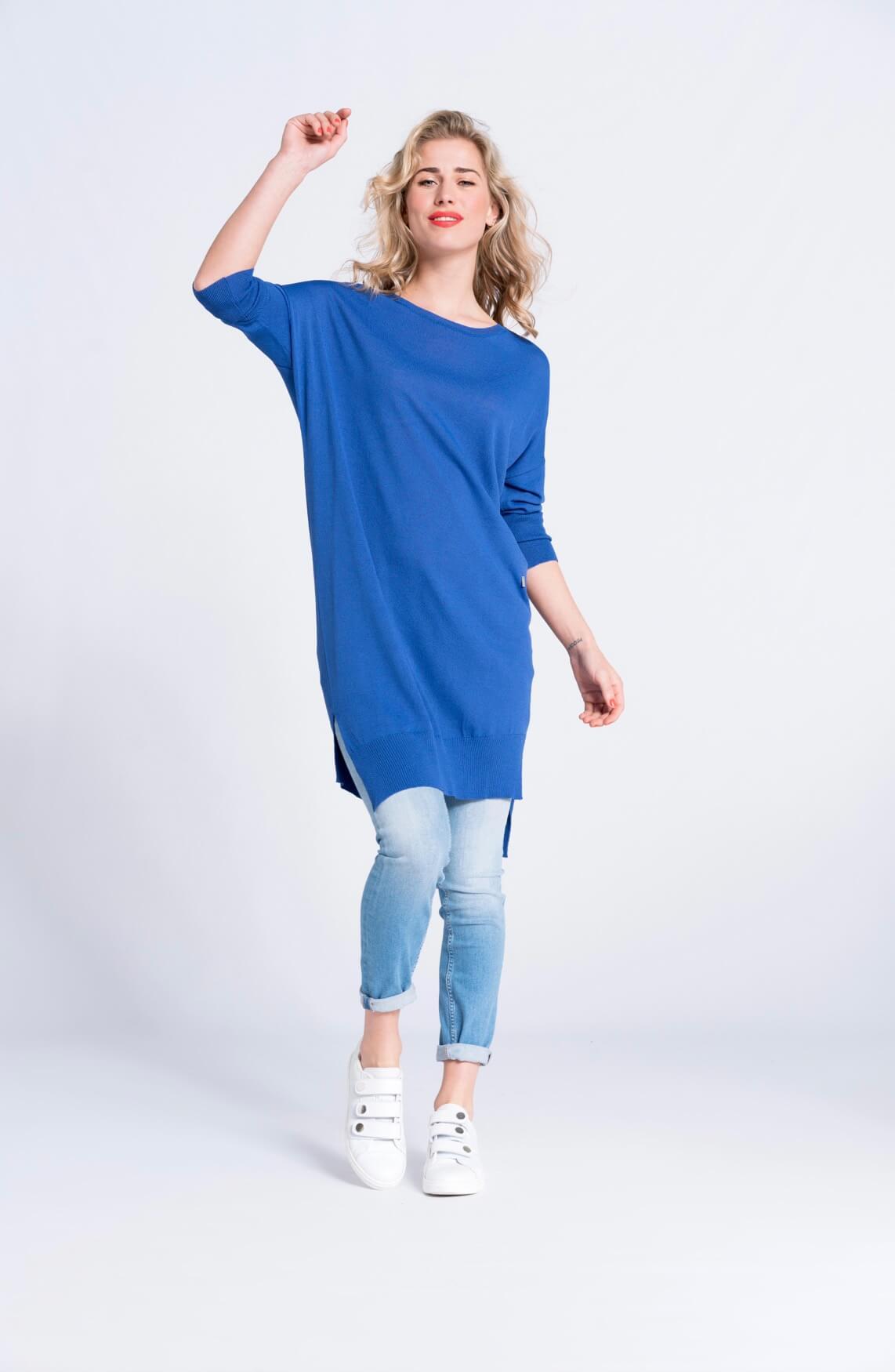 Anna Dames Pull jurk cobalt Blauw