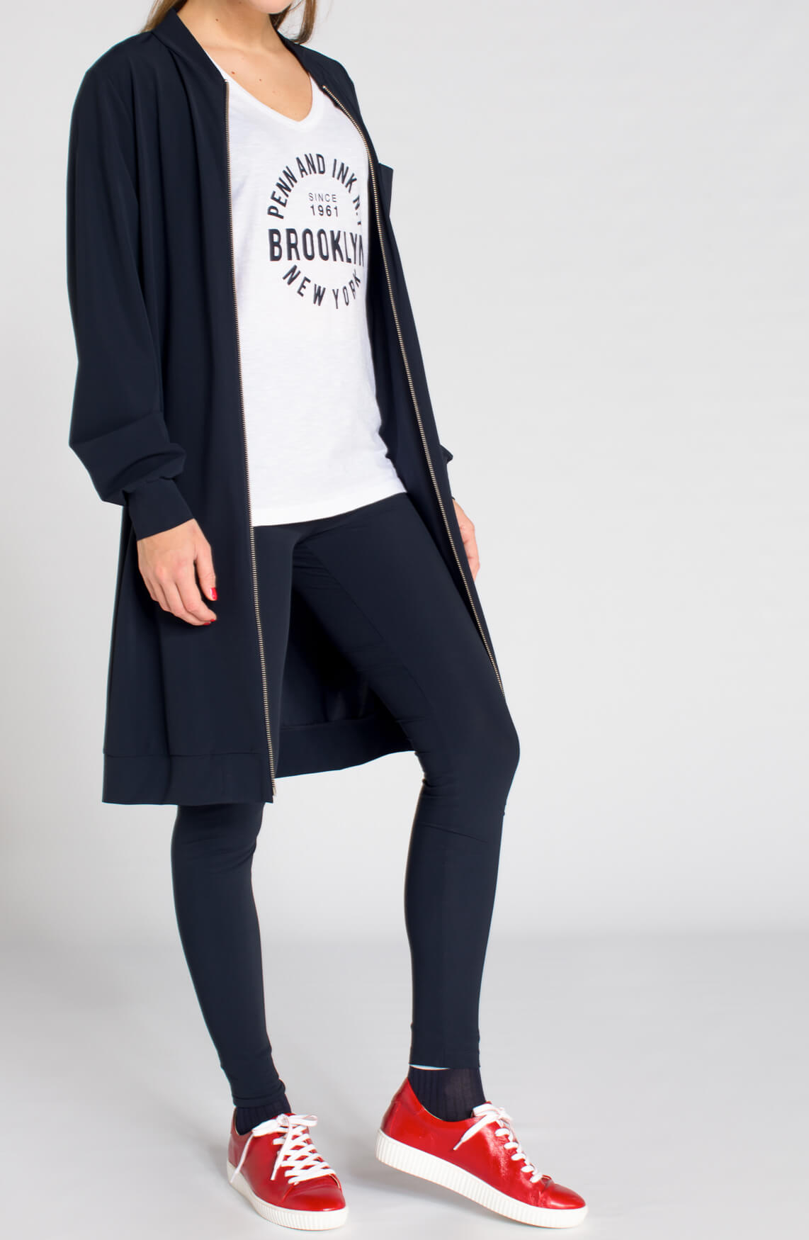 Penn & Ink Dames Lange blazer met rits Blauw