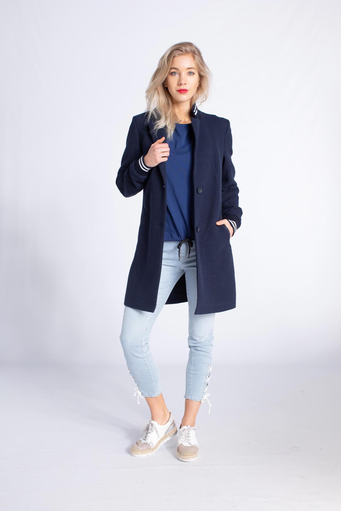 Anna Blue Dames Lange blazer met reliëf Blauw