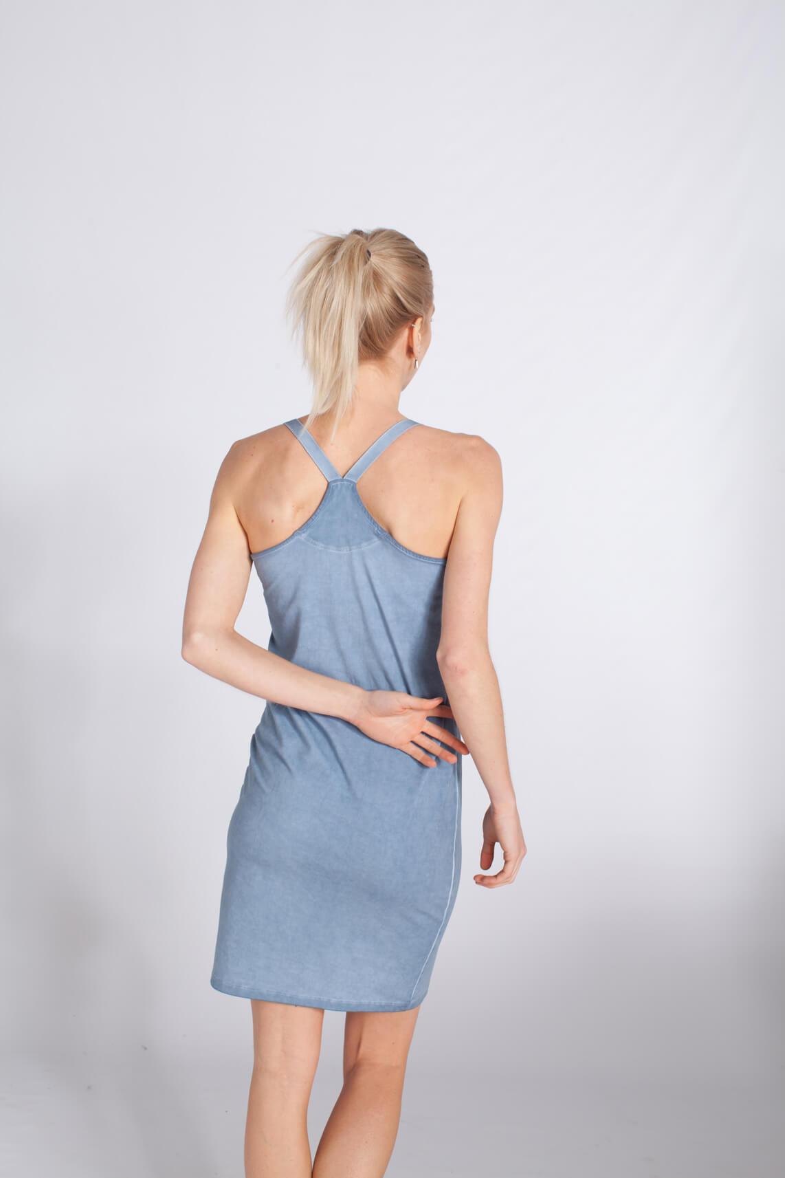 Anna Dames Garment dye verlengde top Blauw