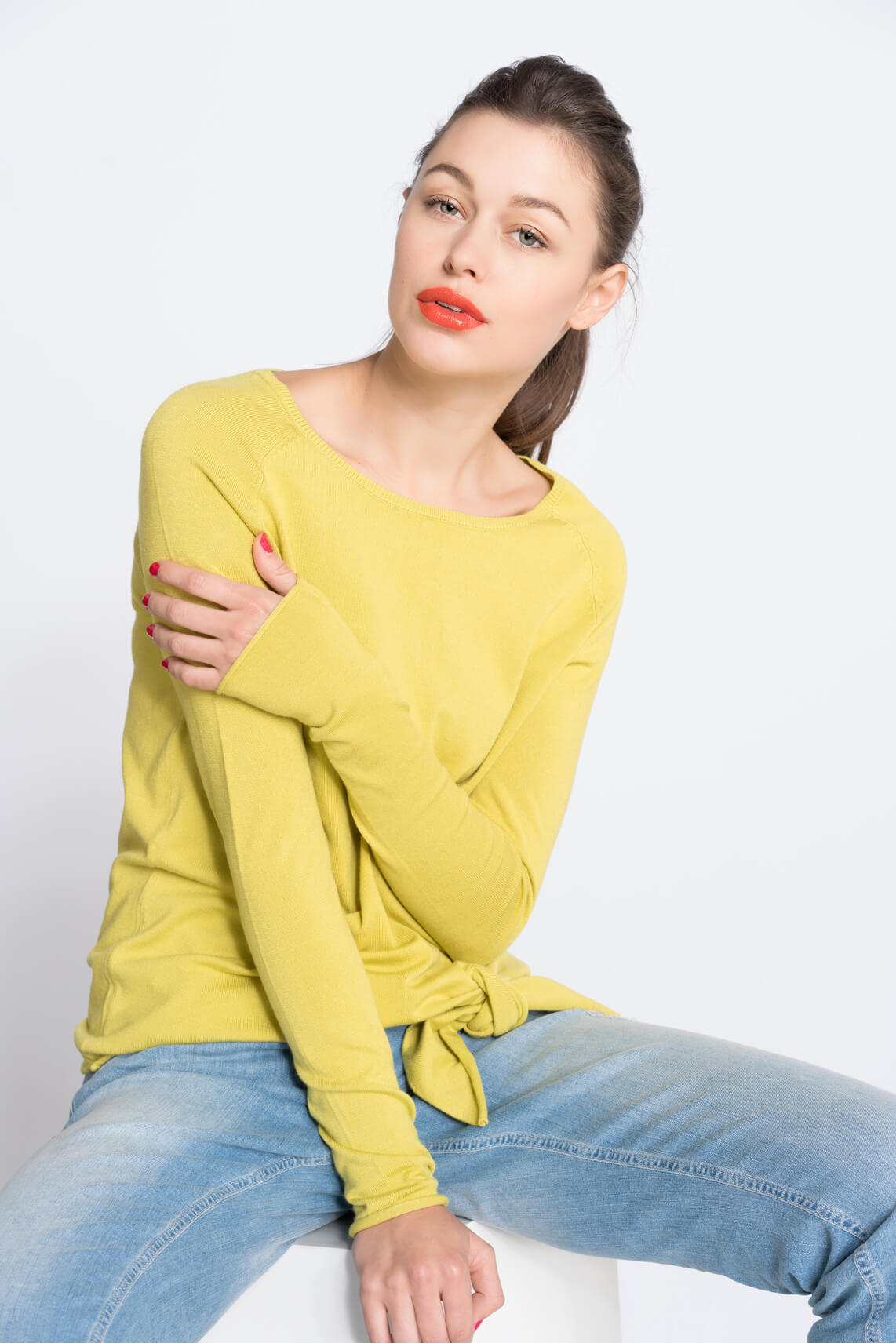 Anna Dames Pullover met knoopdetail 0