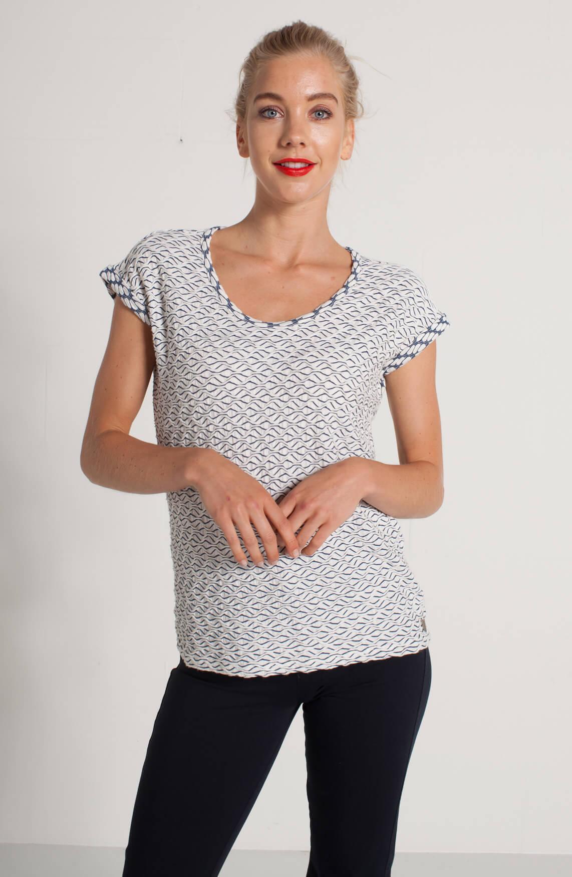 Anna Dames Shirt met reliëfprint wit
