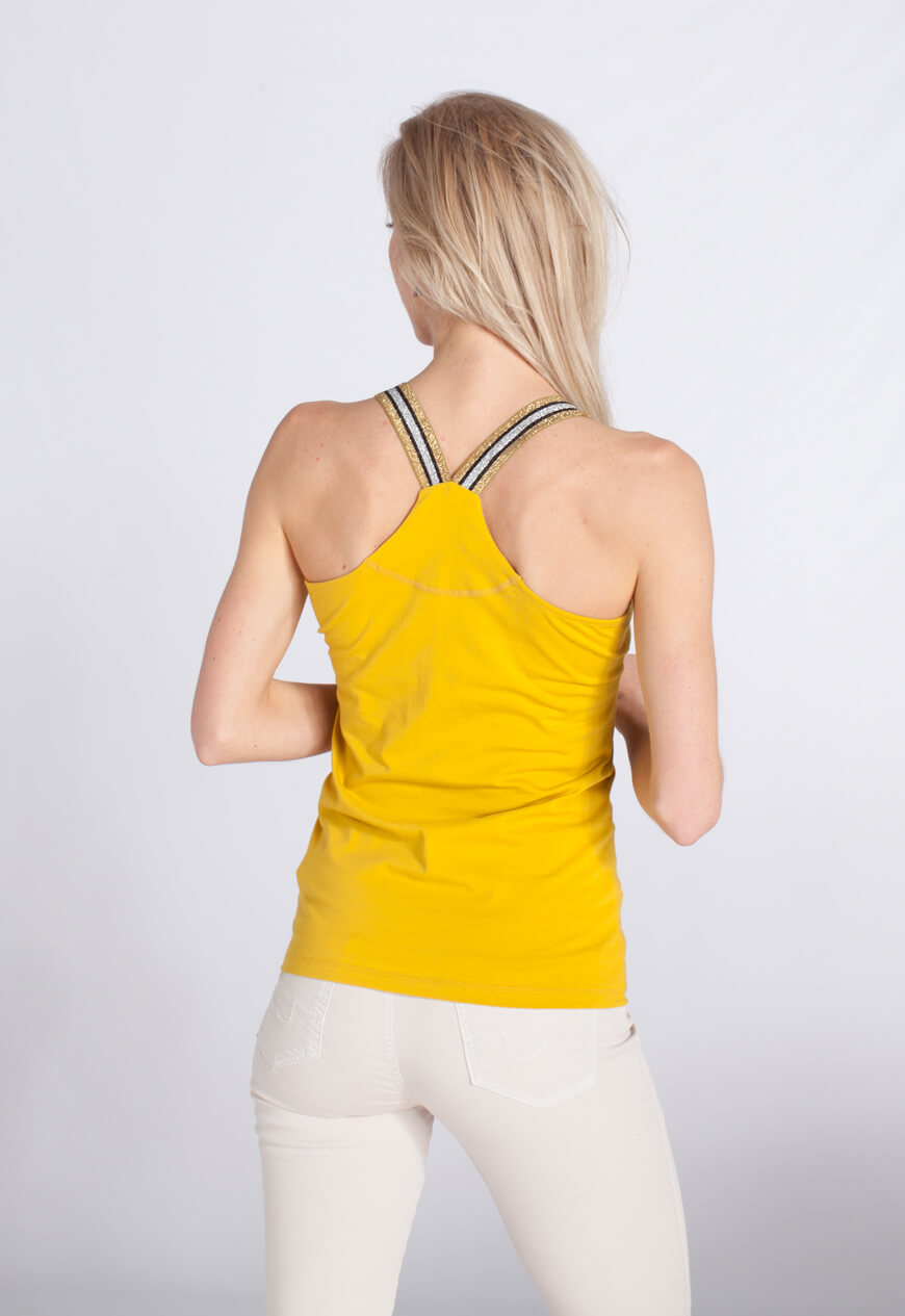 Anna Dames Top met glitterbandjes geel