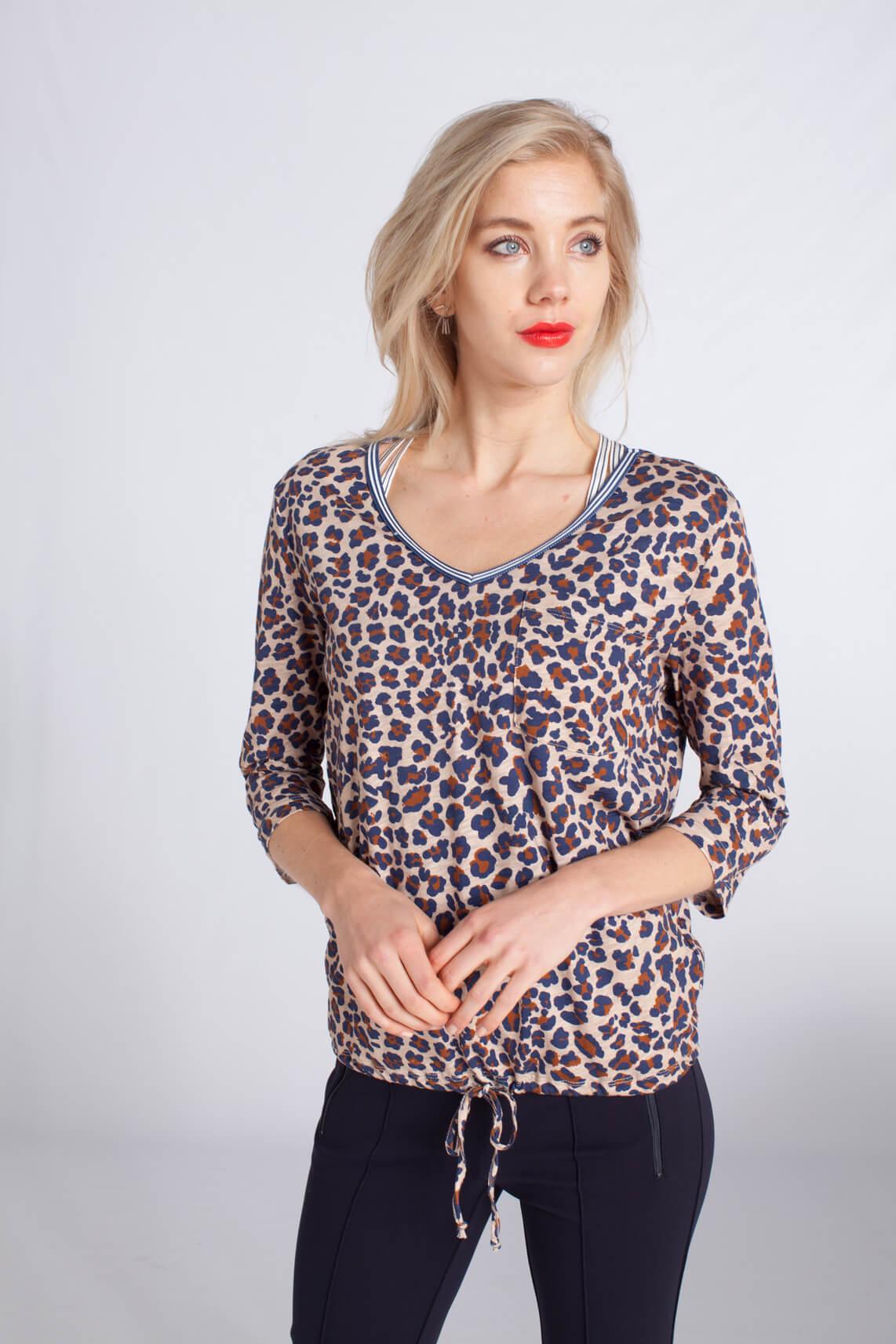 Anna Blue Dames Shirt met panterprint Bruin