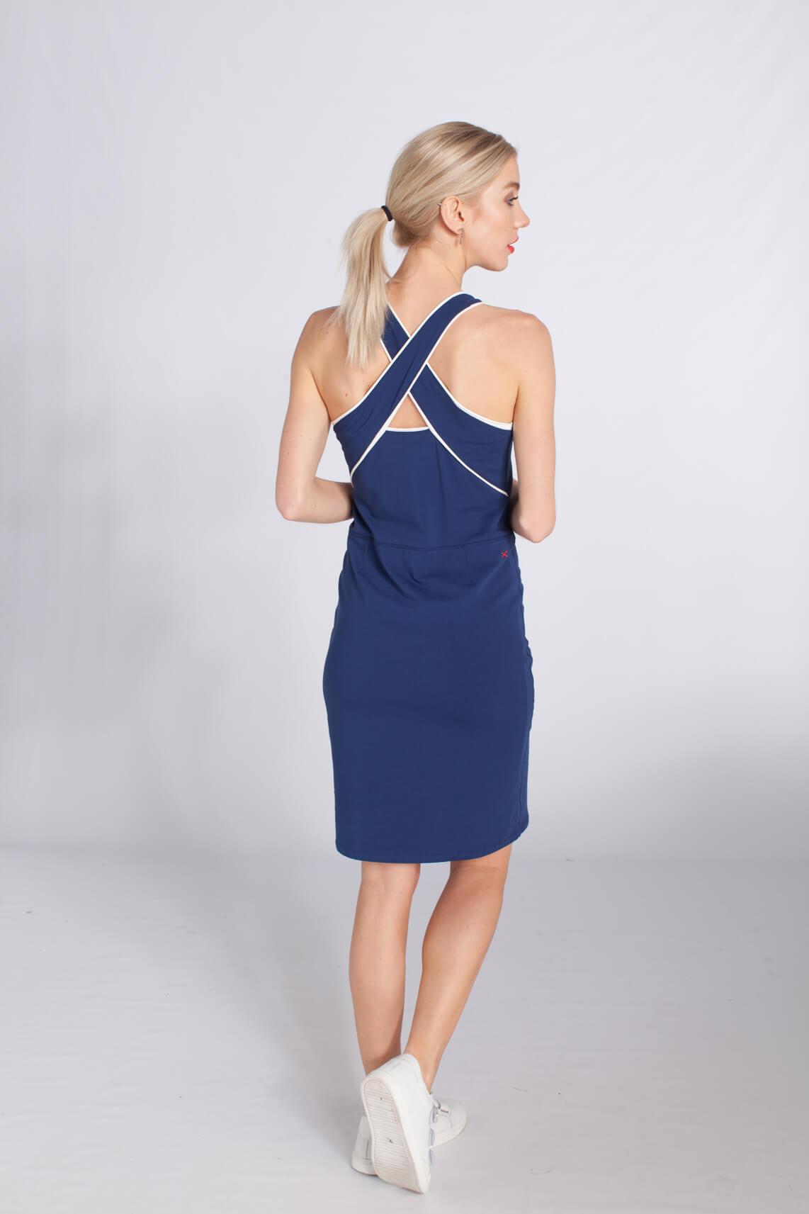 Anna Blue Dames Sportieve jurk met mesh Blauw