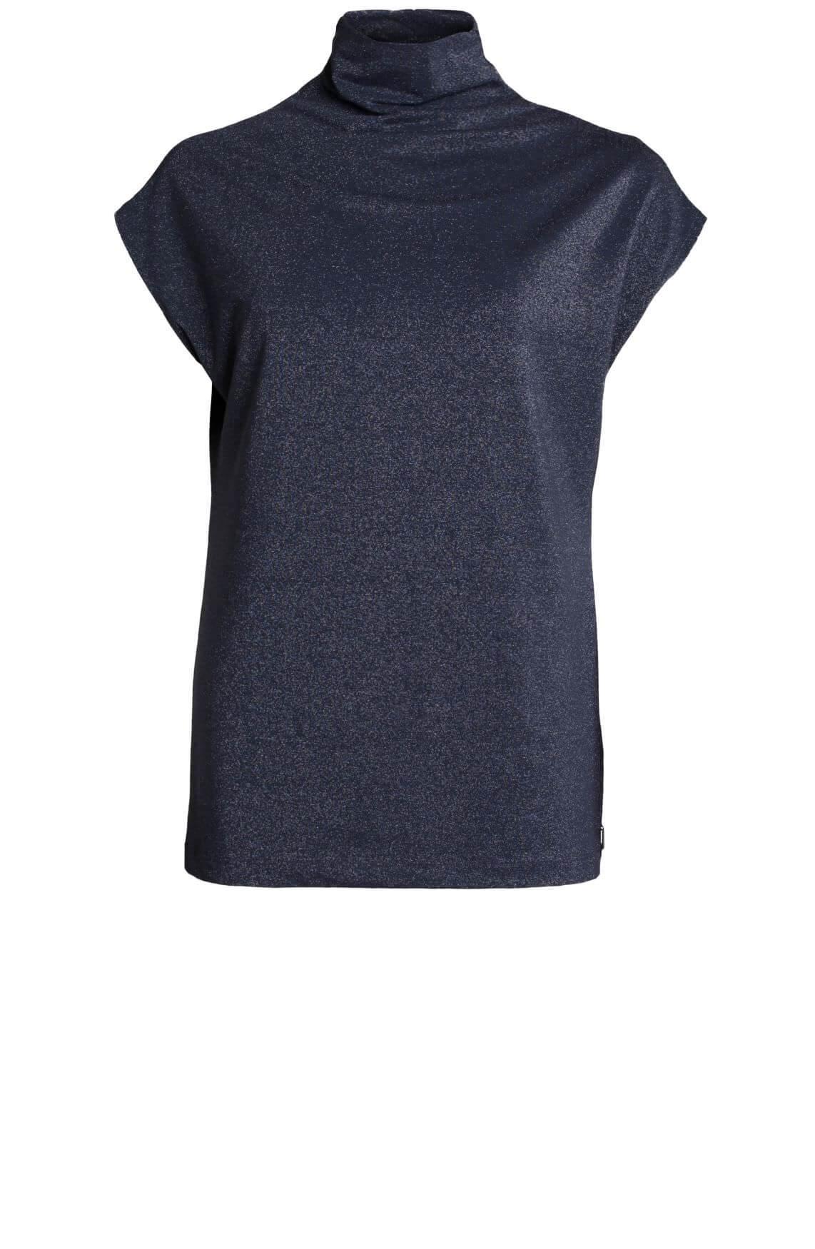 Anna Dames Glittershirt met col Blauw