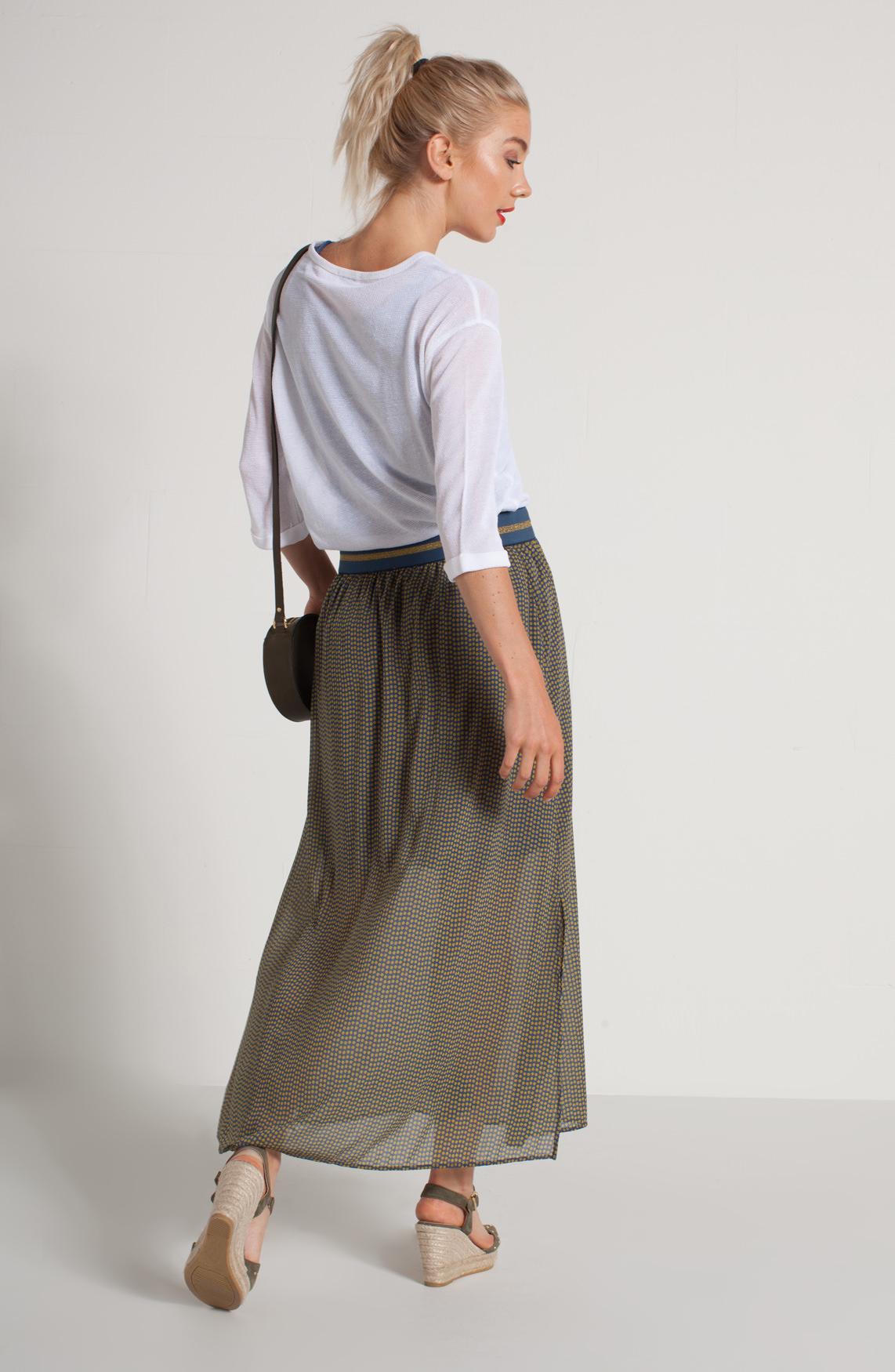 Anna Dames Lange rok met stippen Blauw
