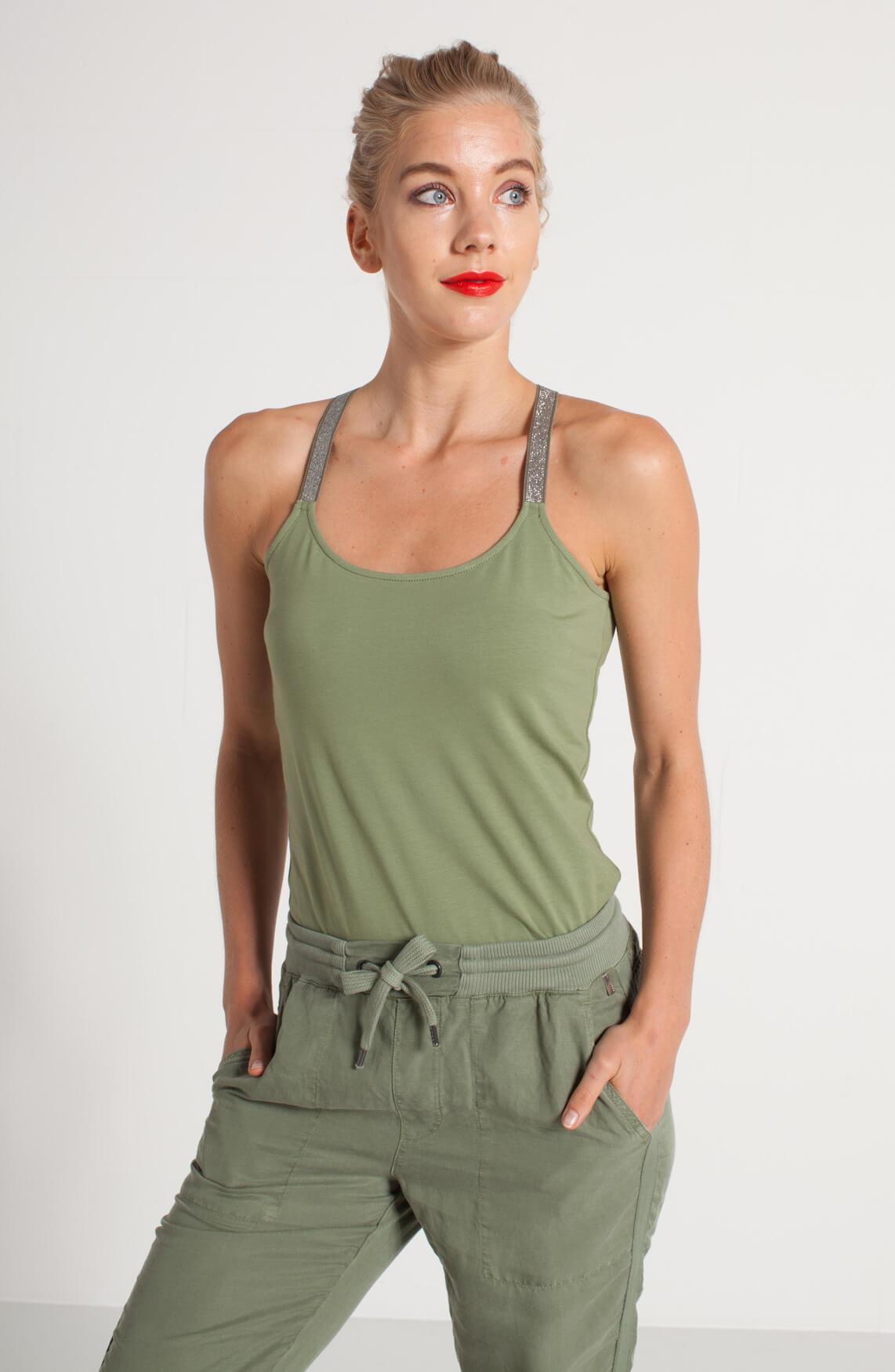 Anna Dames Top met lurexbandjes groen