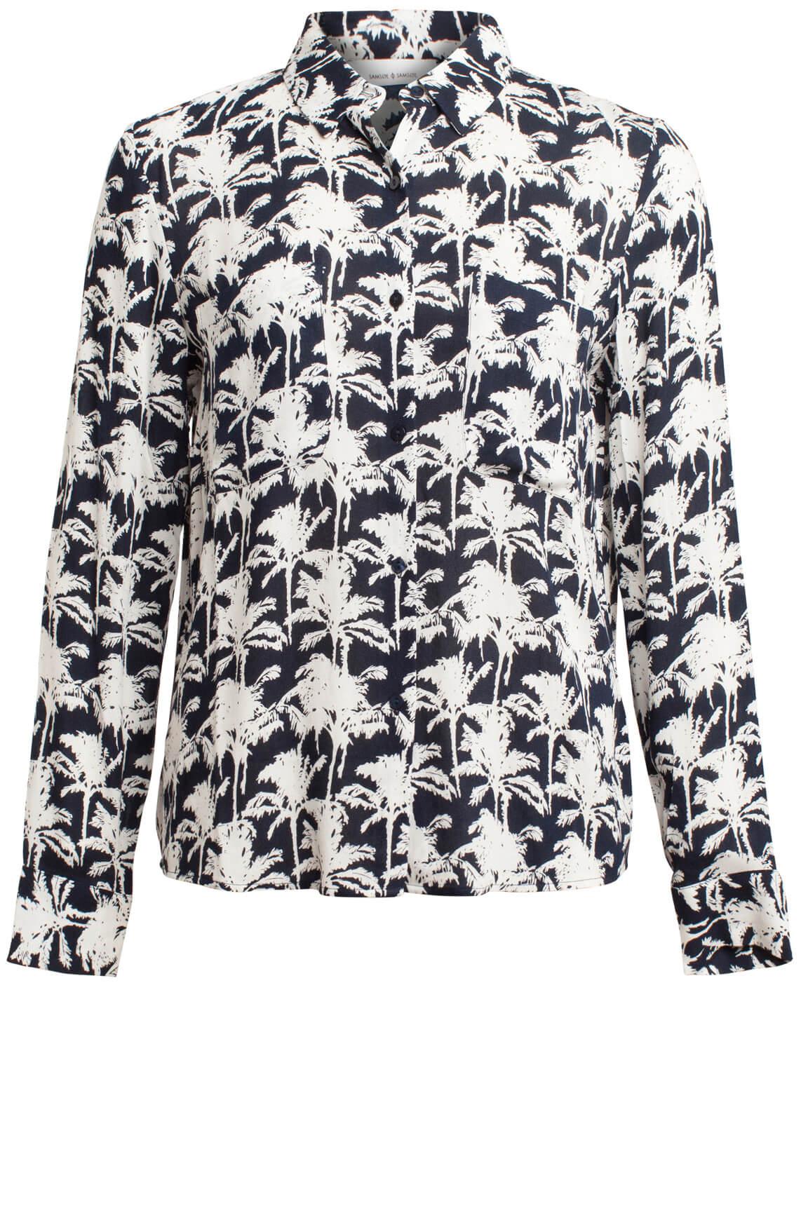 Samsoe Samsoe Dames Milly blouse met palmprint Blauw