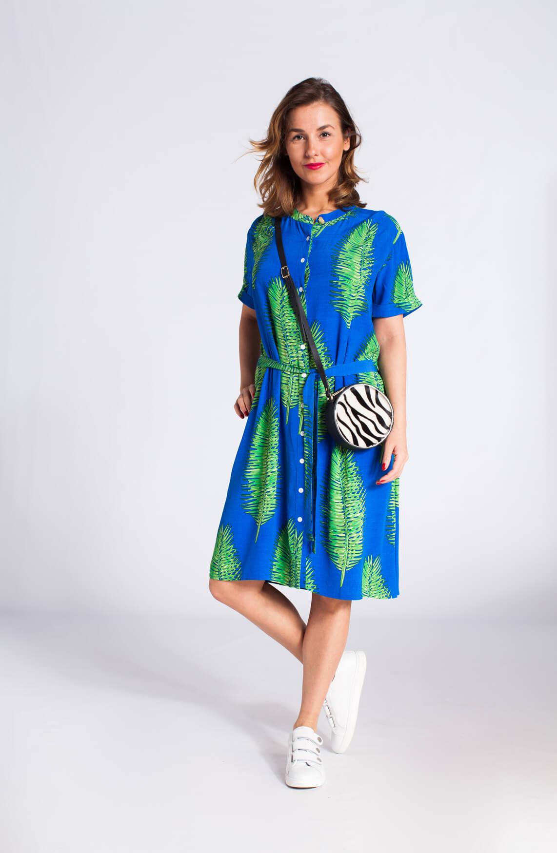 Fabienne Chapot Dames Jurk met palmblad Blauw