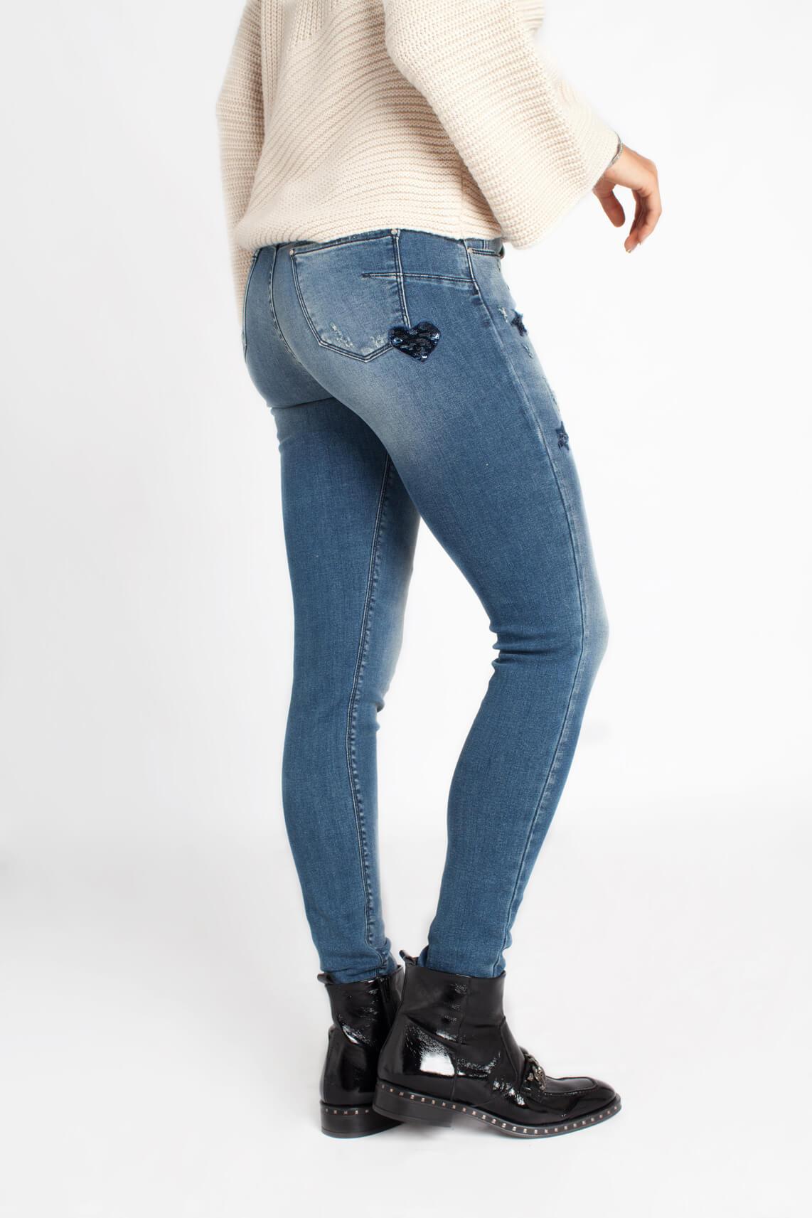 Kocca Dames Kara jeans met pailletten Blauw