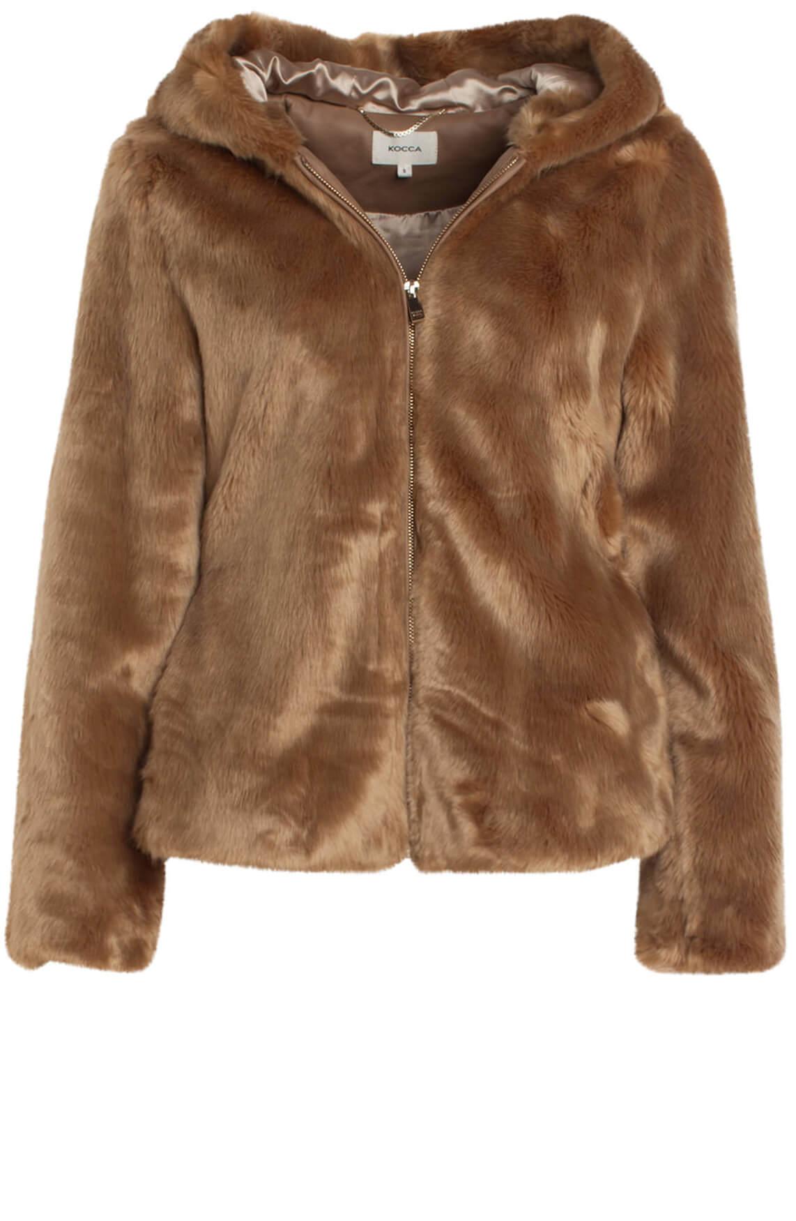 Kocca Dames Wellas faux fur jas Bruin