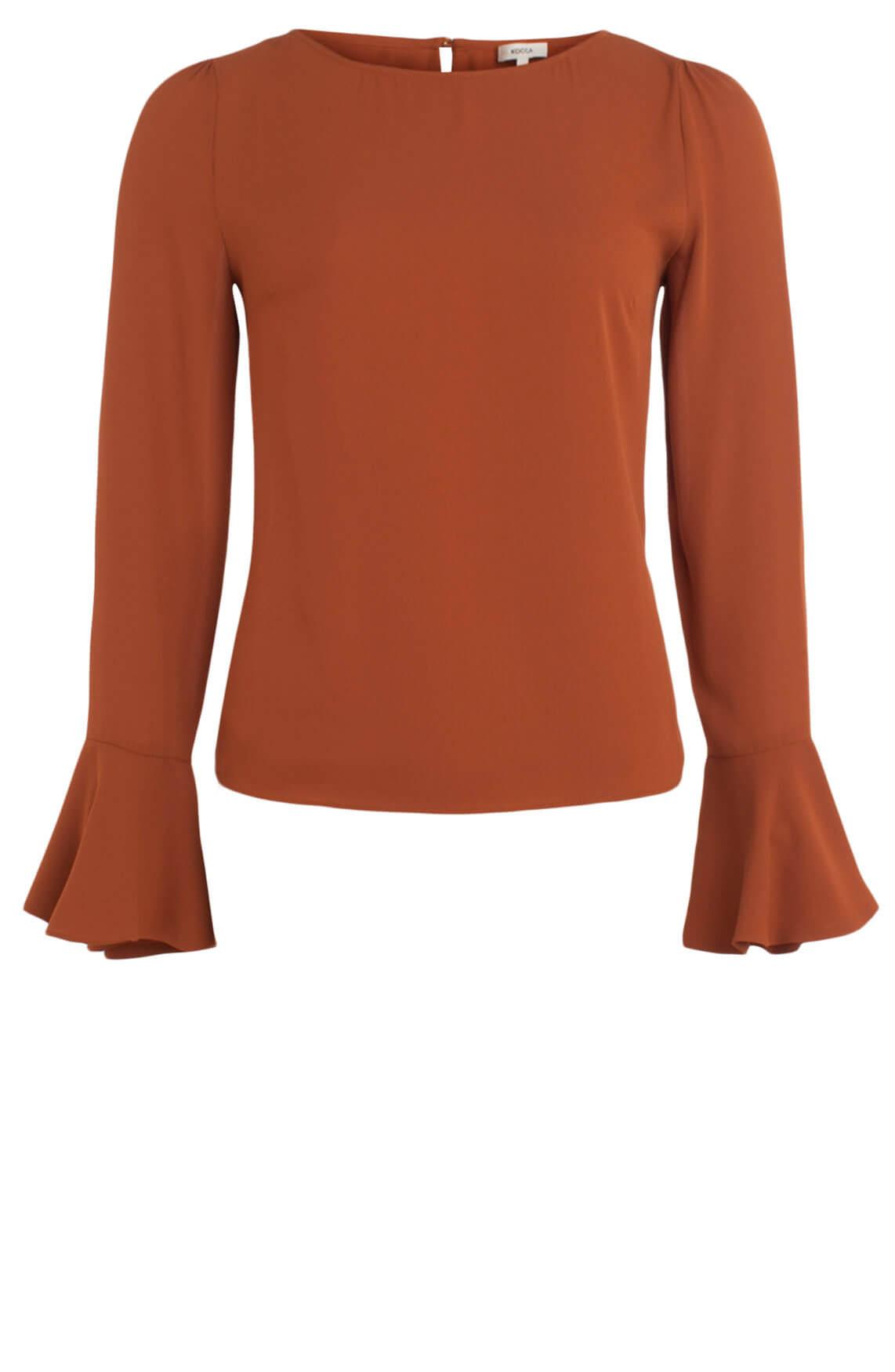 Kocca Dames Elvia blouse met volantmouwen Bruin