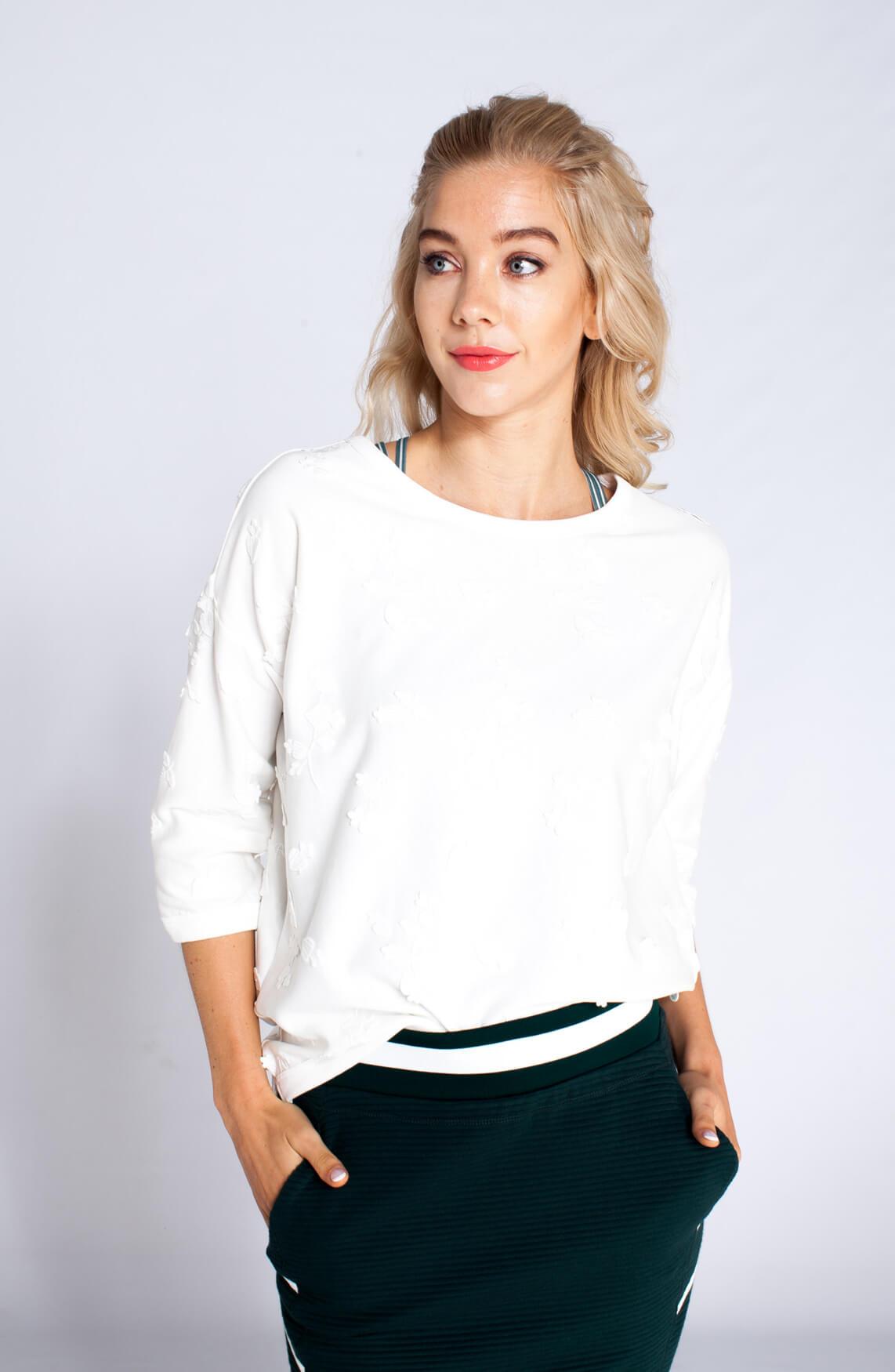 Maison Scotch Dames Sweater met borduursel wit