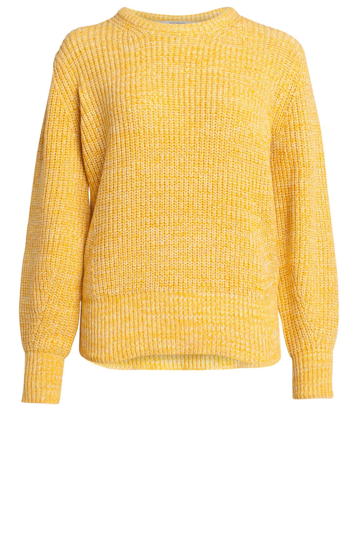 Maison Scotch Dames Grofgebreide pullover geel