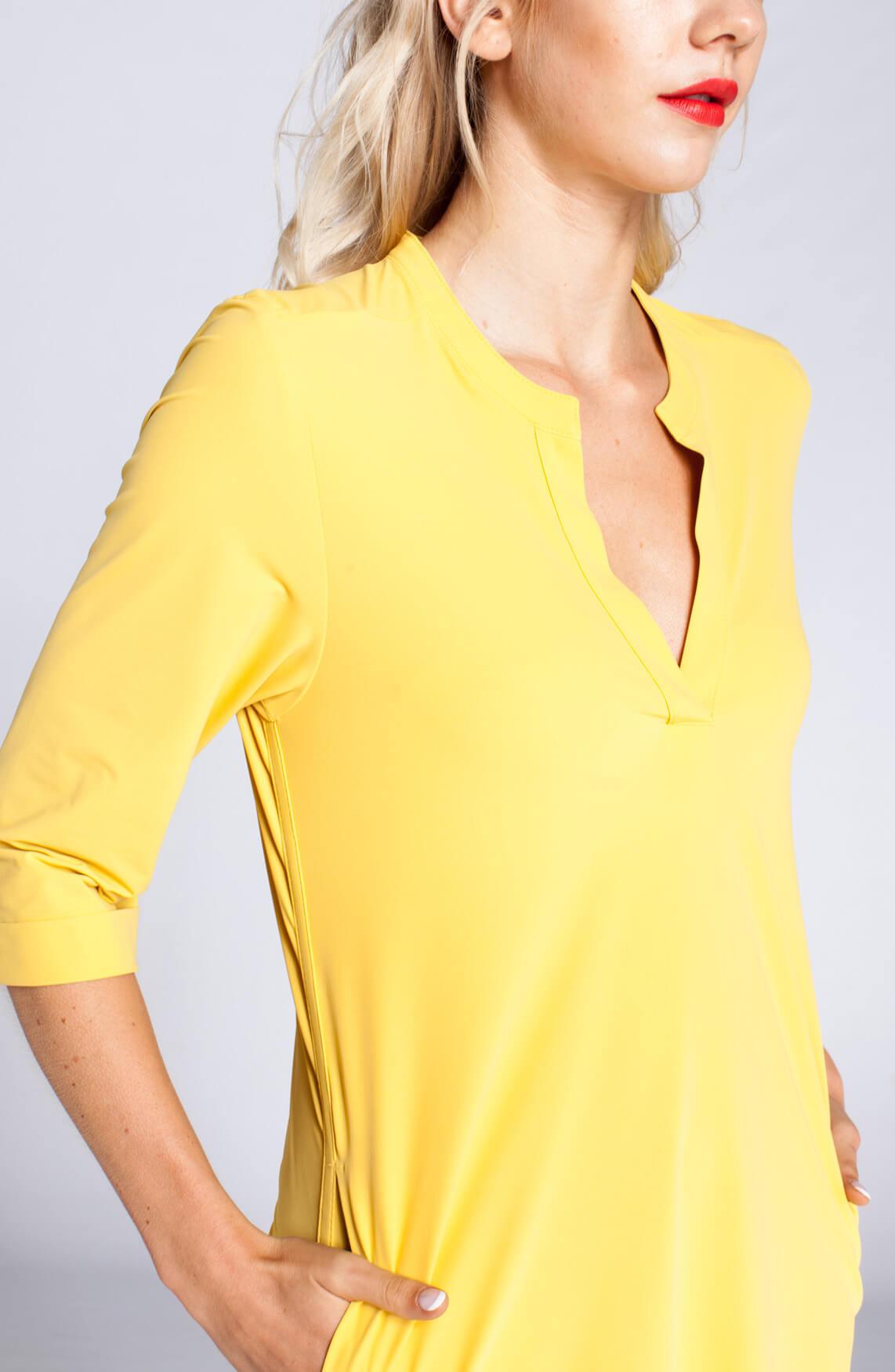 Penn & Ink Dames Jurk met v-hals geel geel