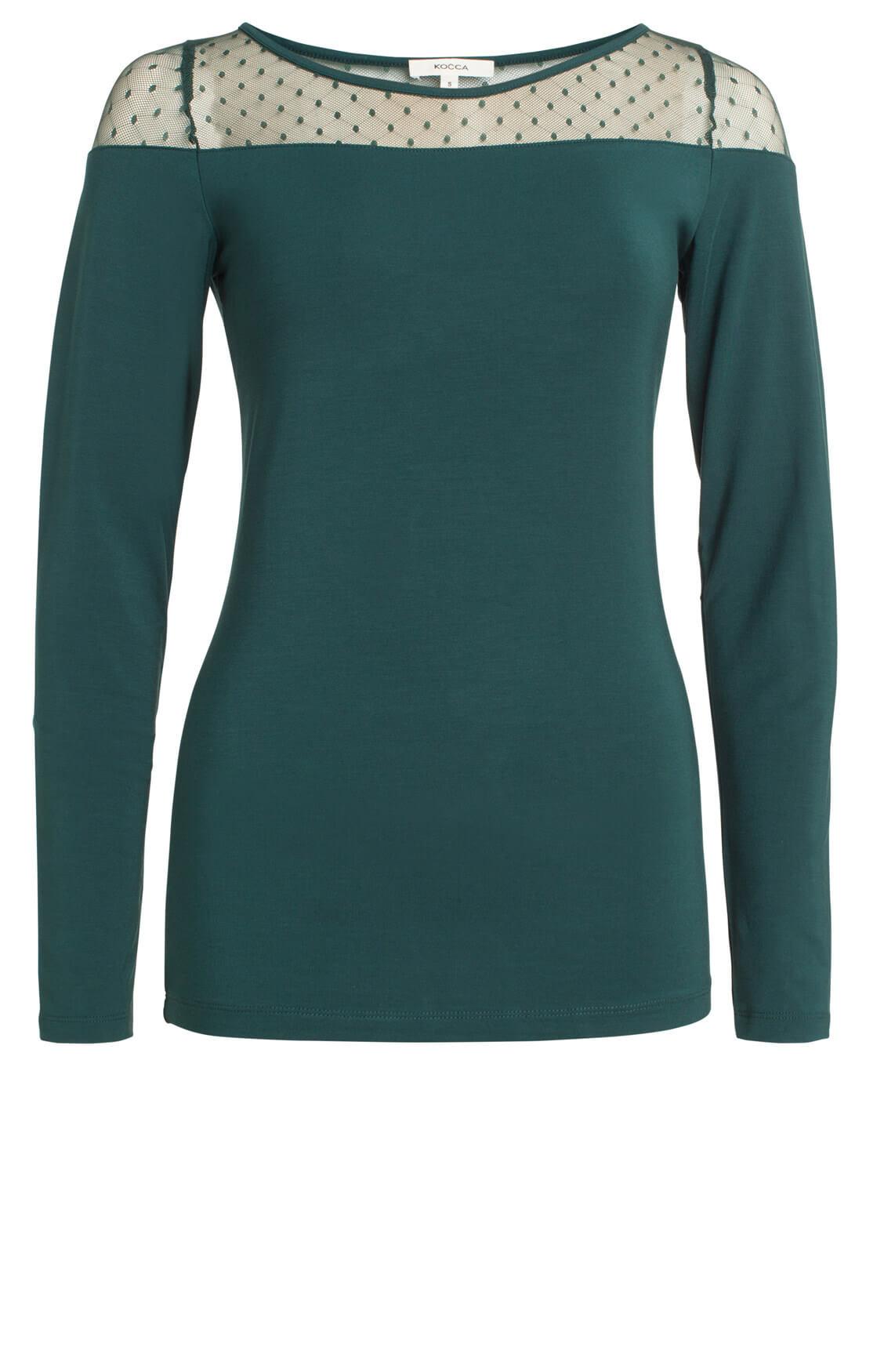 Kocca Dames Plus shirt met stippen groen
