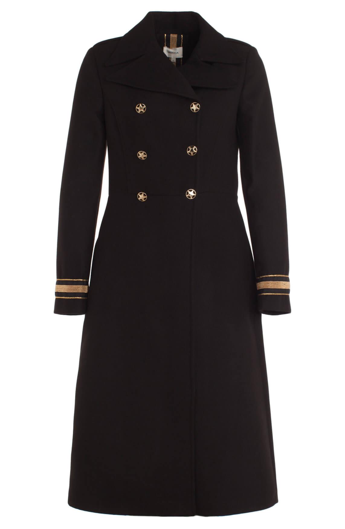 Kocca Dames Tiwum lange mantel zwart