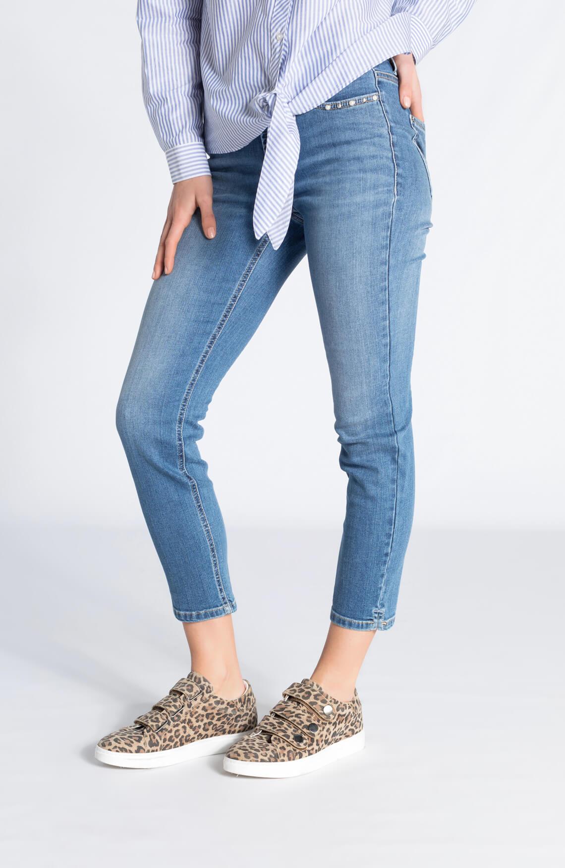 Cambio Dames Piper jeans met parels Blauw