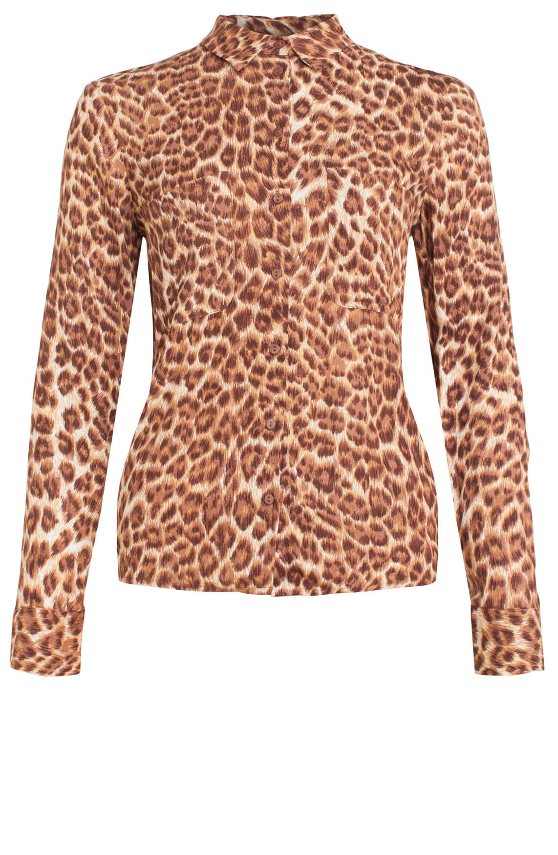 Samsoe Samsoe Dames Milly panterprint blouse Bruin
