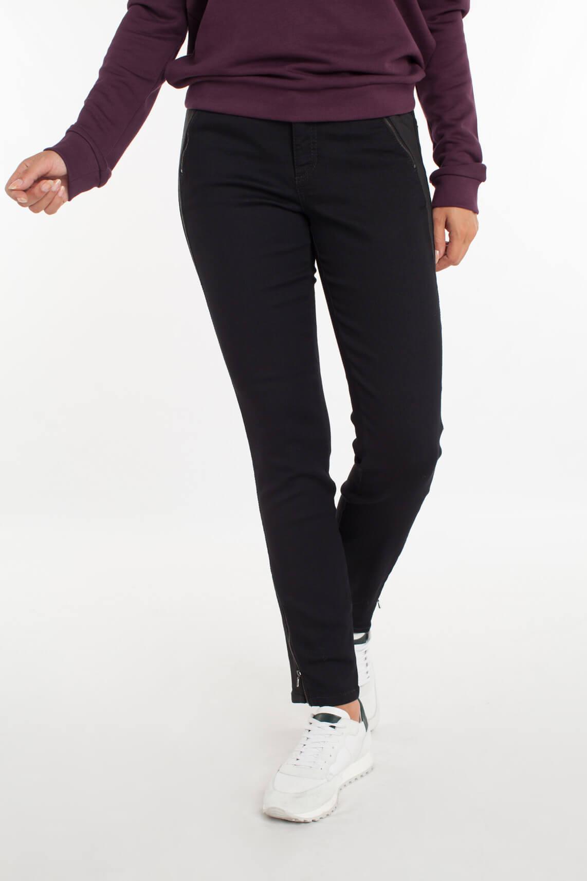 Cambio Dames Parla materiaalmix jeans zwart