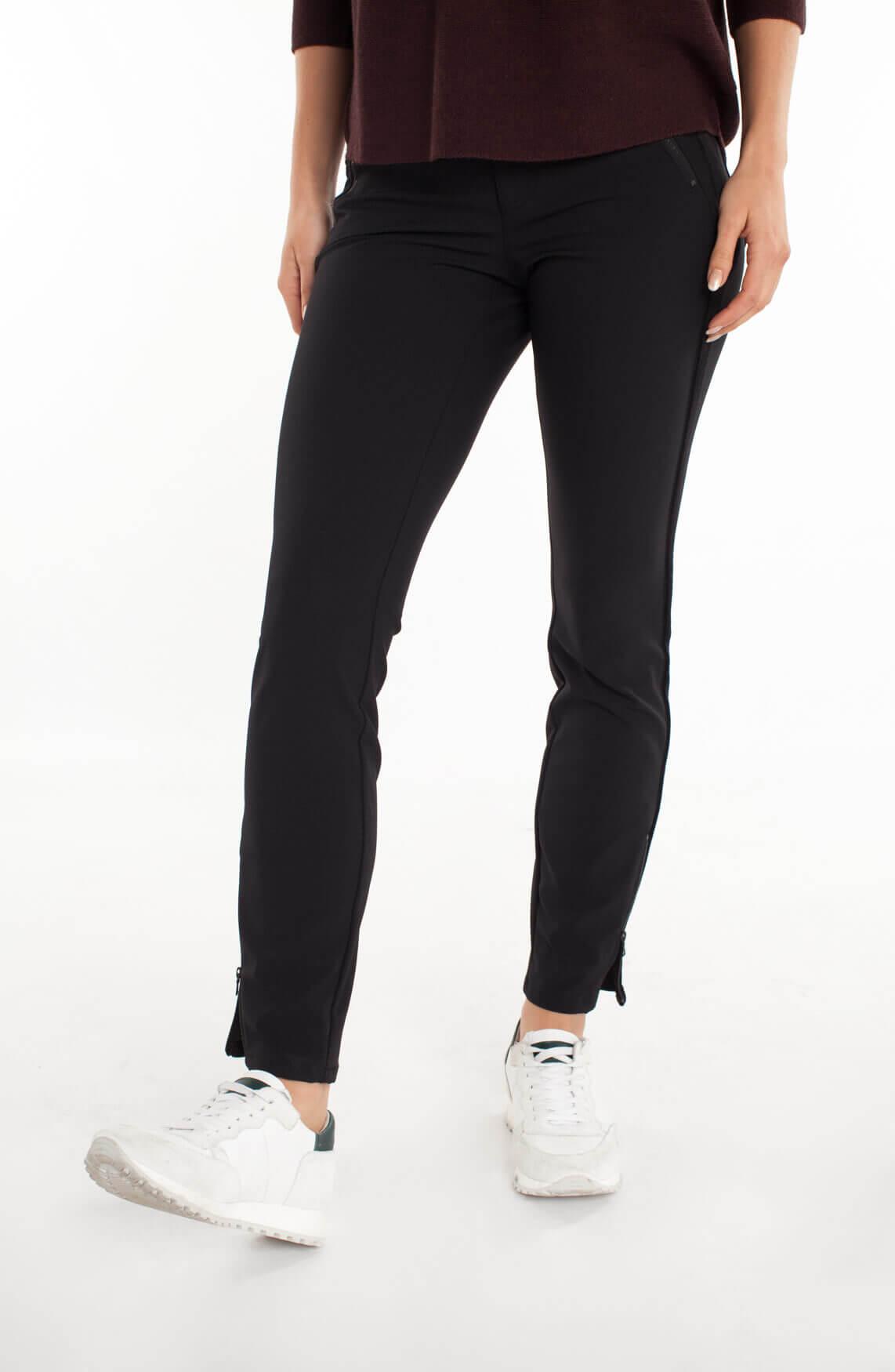 Cambio Dames Parla zip pantalon met fluwelen bies zwart