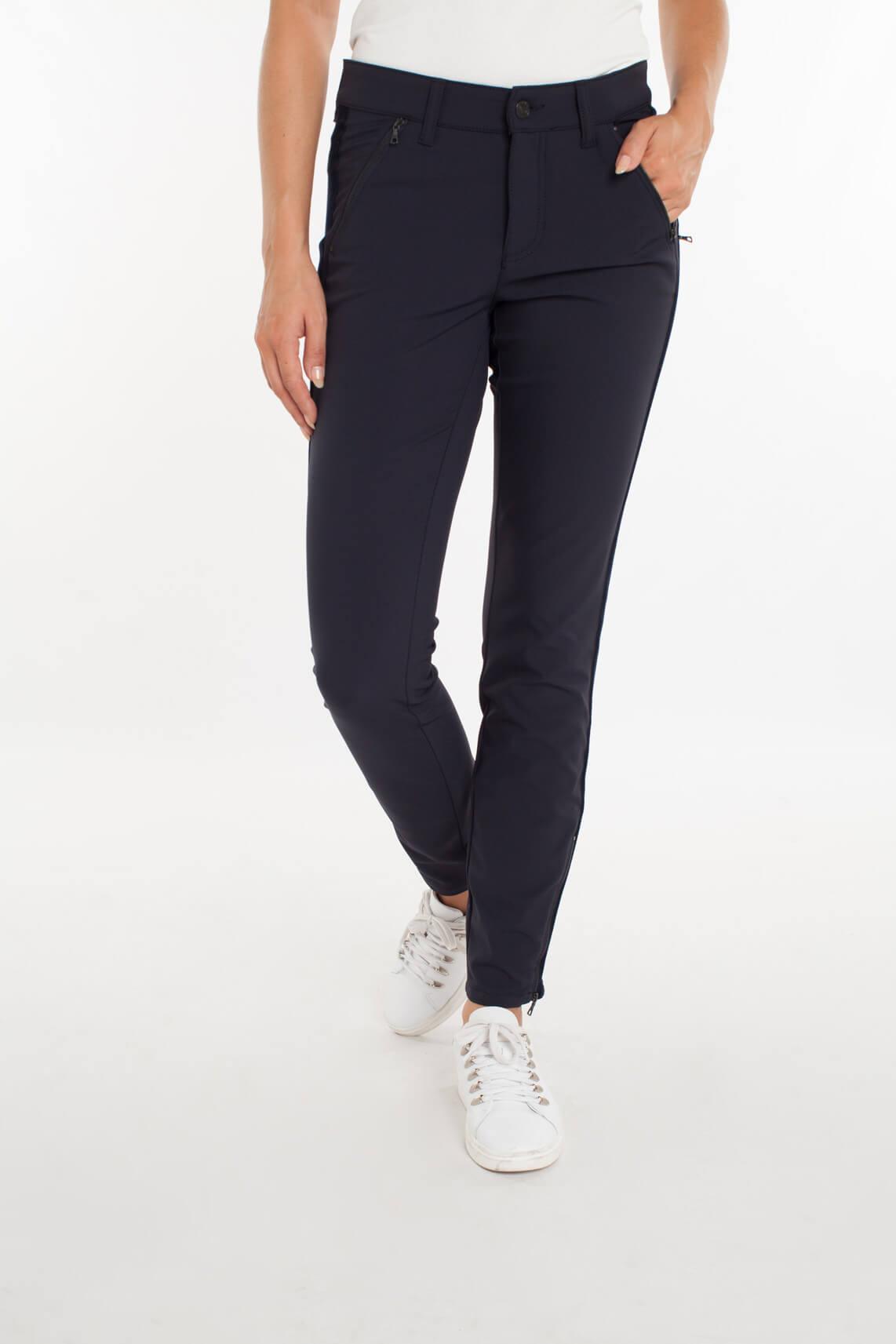 Cambio Dames Parla zip pantalon met fluwelen bies Blauw