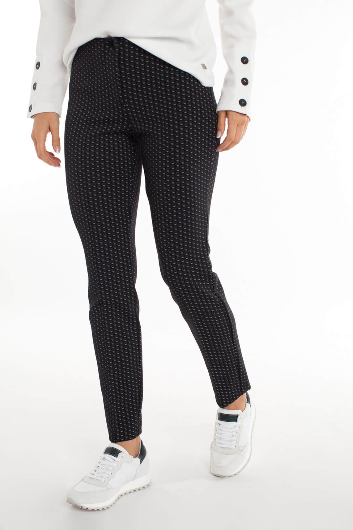 Cambio Dames Ros pantalon met grafische print zwart