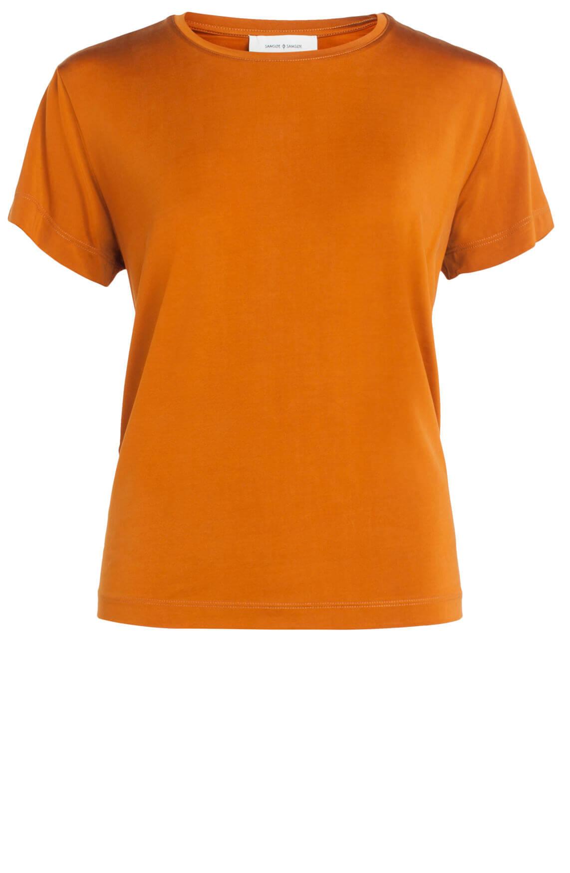 Samsoe Samsoe Dames Siff cupro shirt Bruin