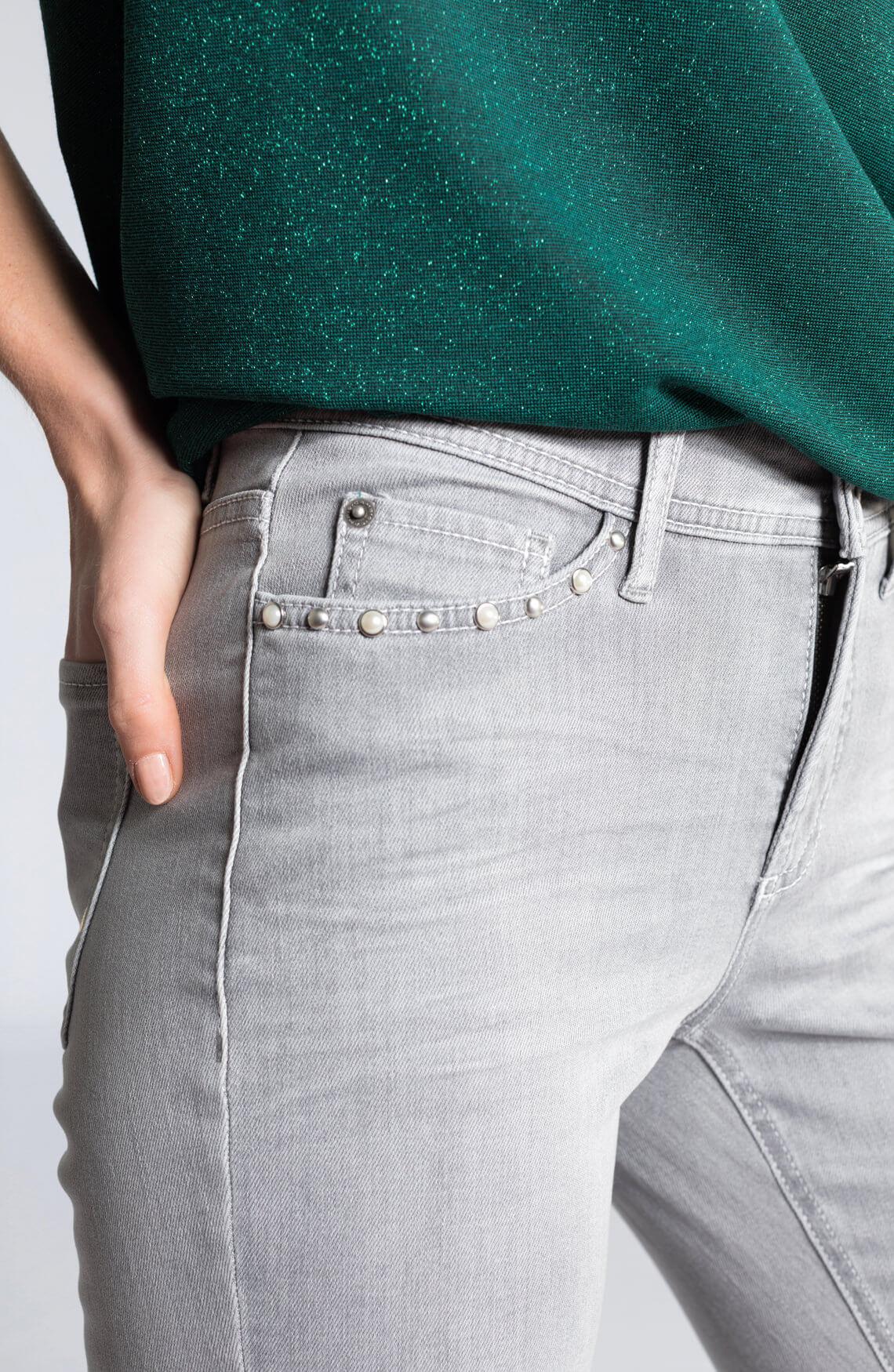 Cambio Dames Piper jeans met parels Grijs