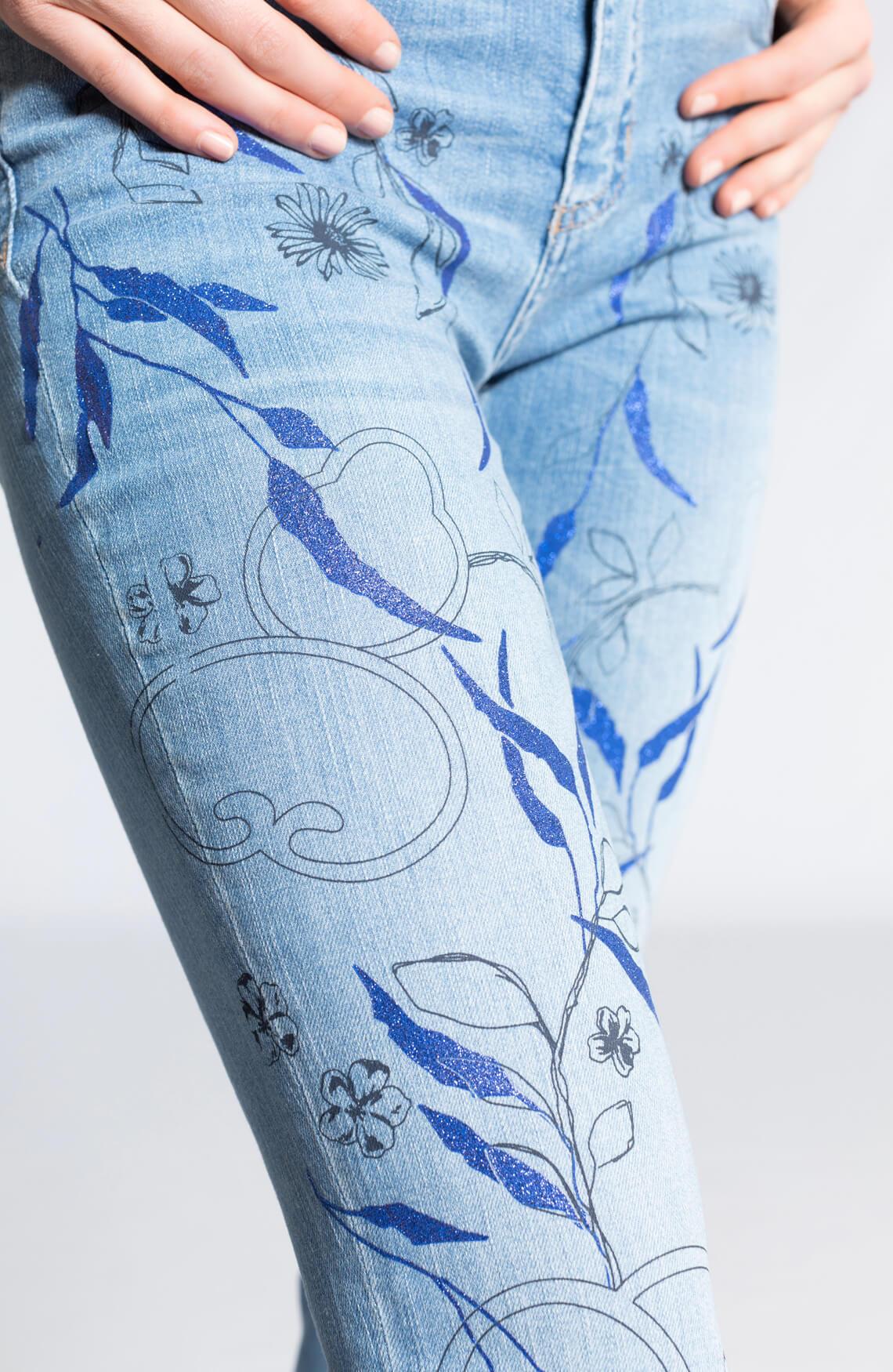 Rosner Dames Antonia jeans met glitterprint Blauw