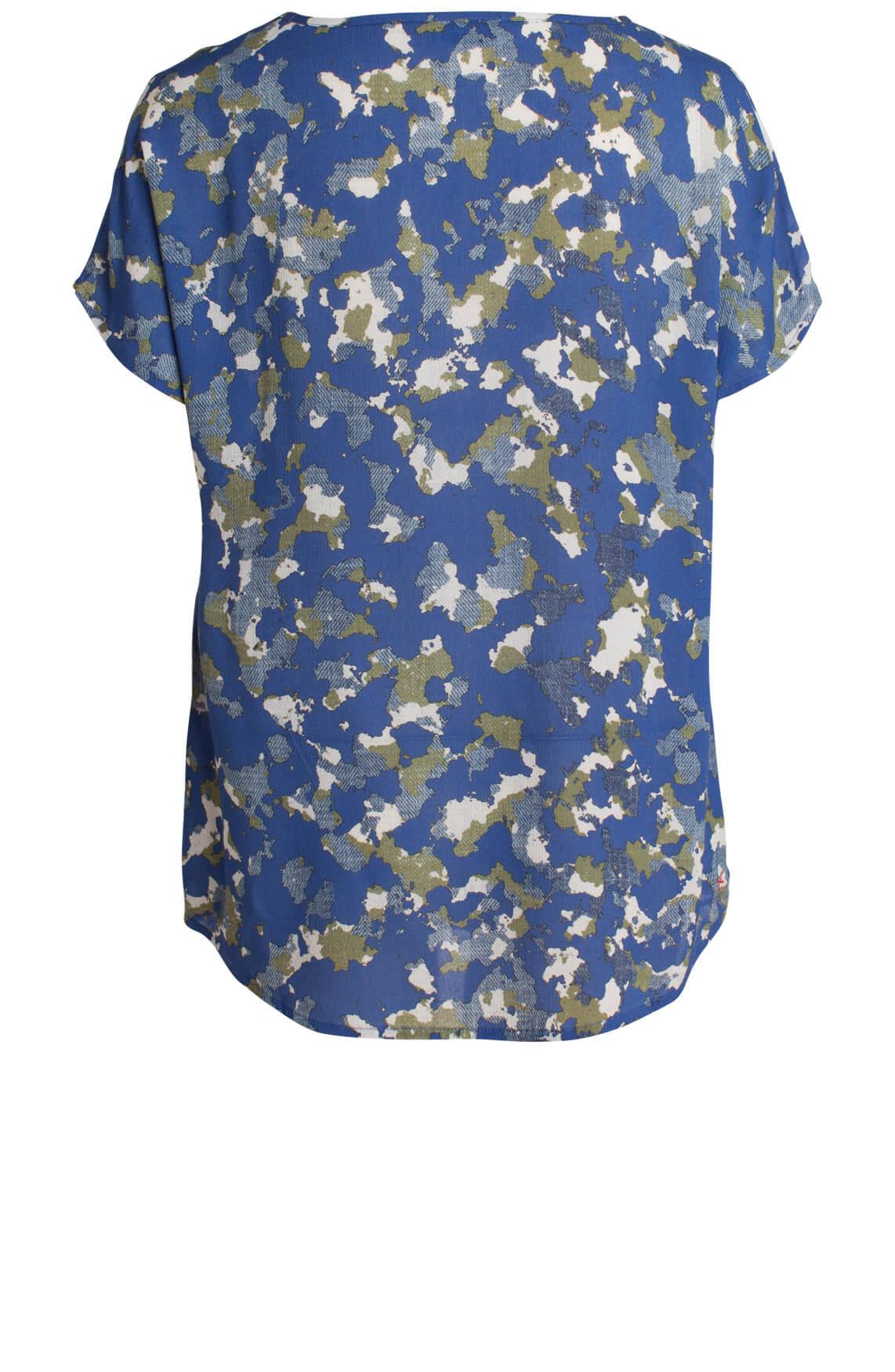 Anna Blue Dames Geprinte blouse Blauw