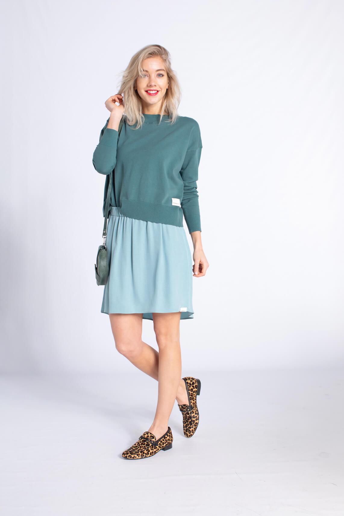 Penn & Ink Dames Pullover met strikdetail groen