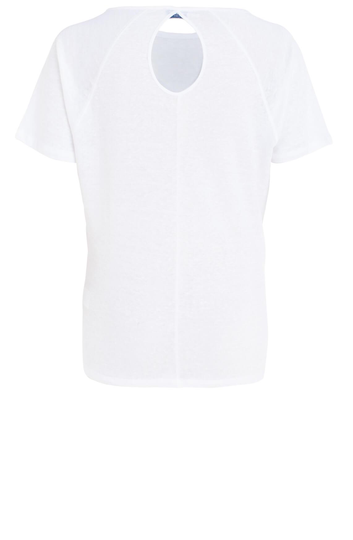 Anna Blue Dames Linnen shirt met knoopdetail wit