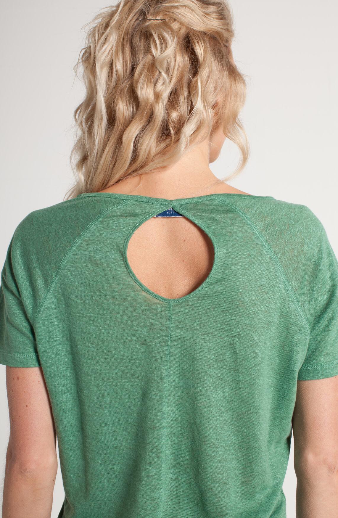 Anna Blue Dames Linnen shirt met knoopdetail groen