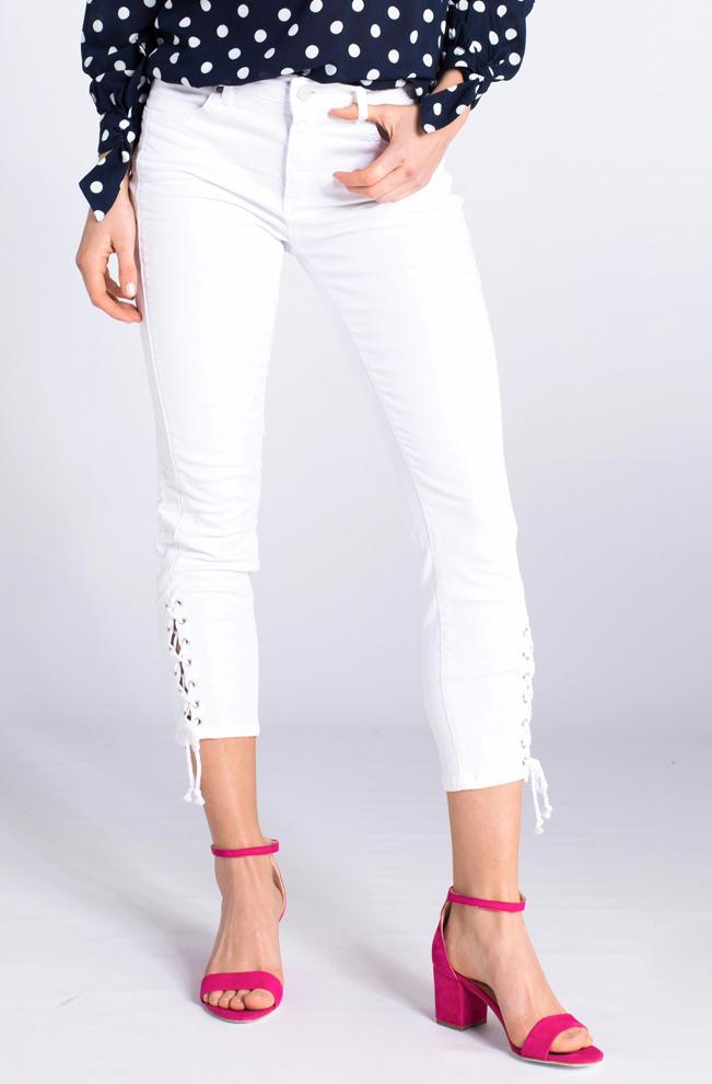 Rosner Dames Antonia jeans met lace-up detail wit