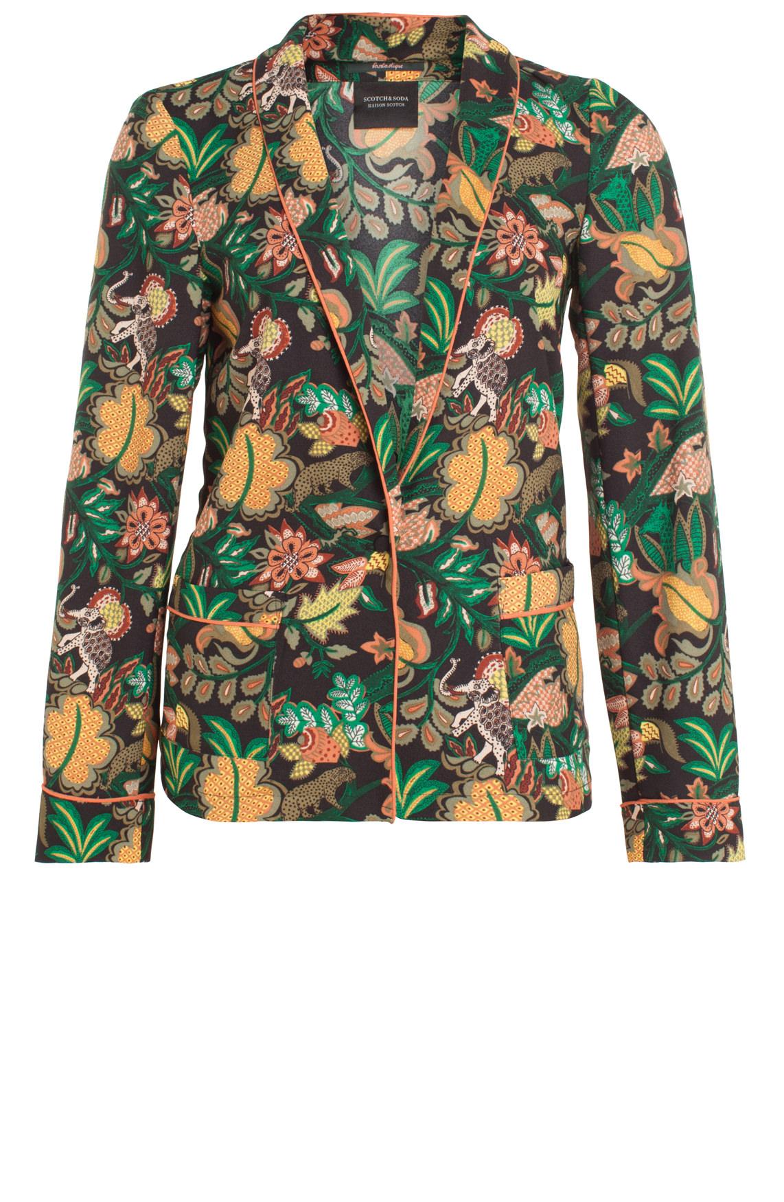 Maison Scotch Dames Soepele blazer met jungleprint groen
