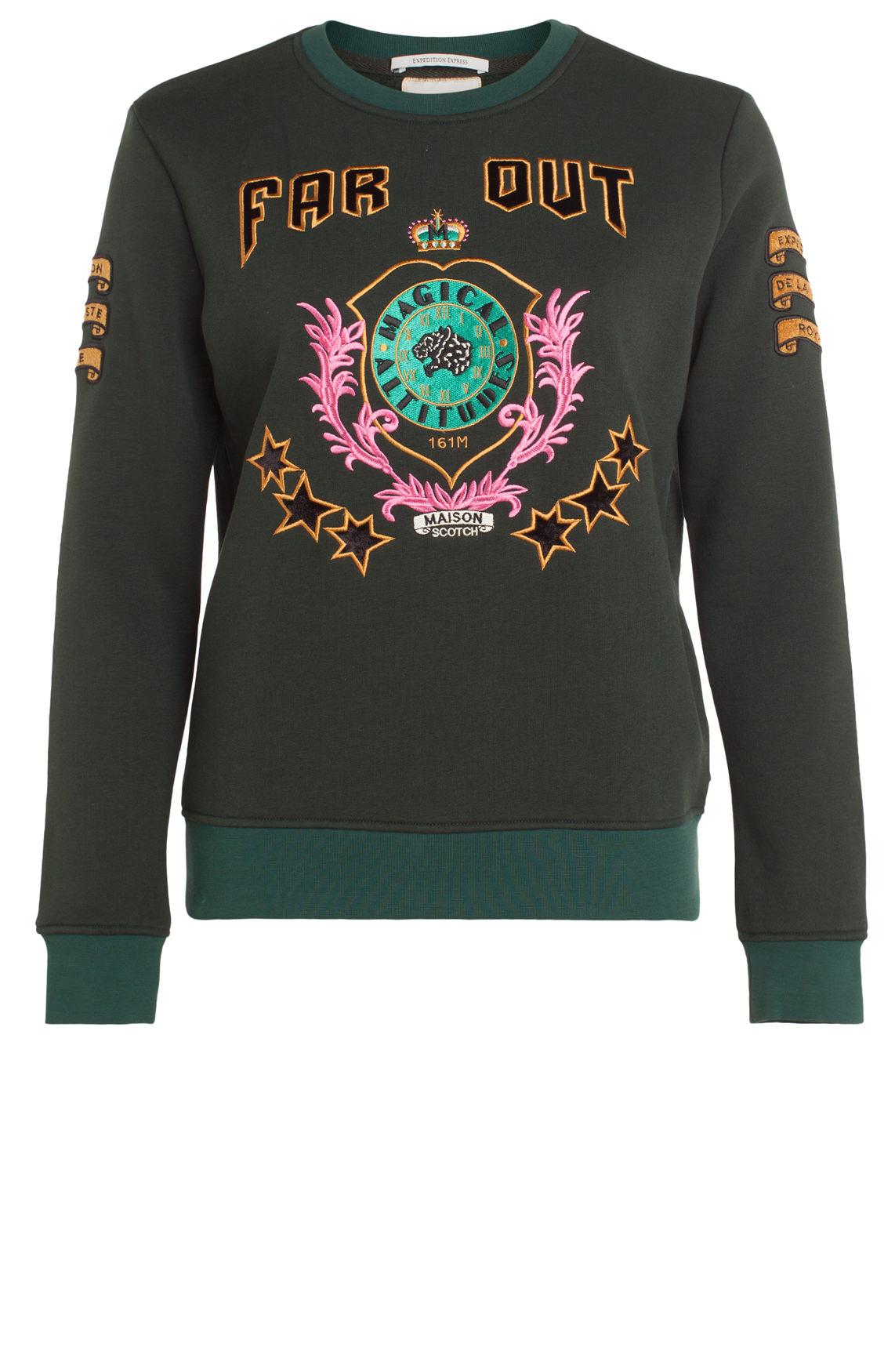 Maison Scotch Dames Sweater met geborduurd artwork groen