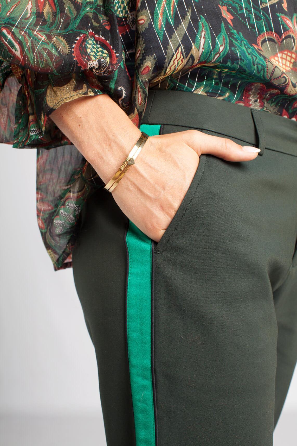 Maison Scotch Dames Pantalon met groene bies groen