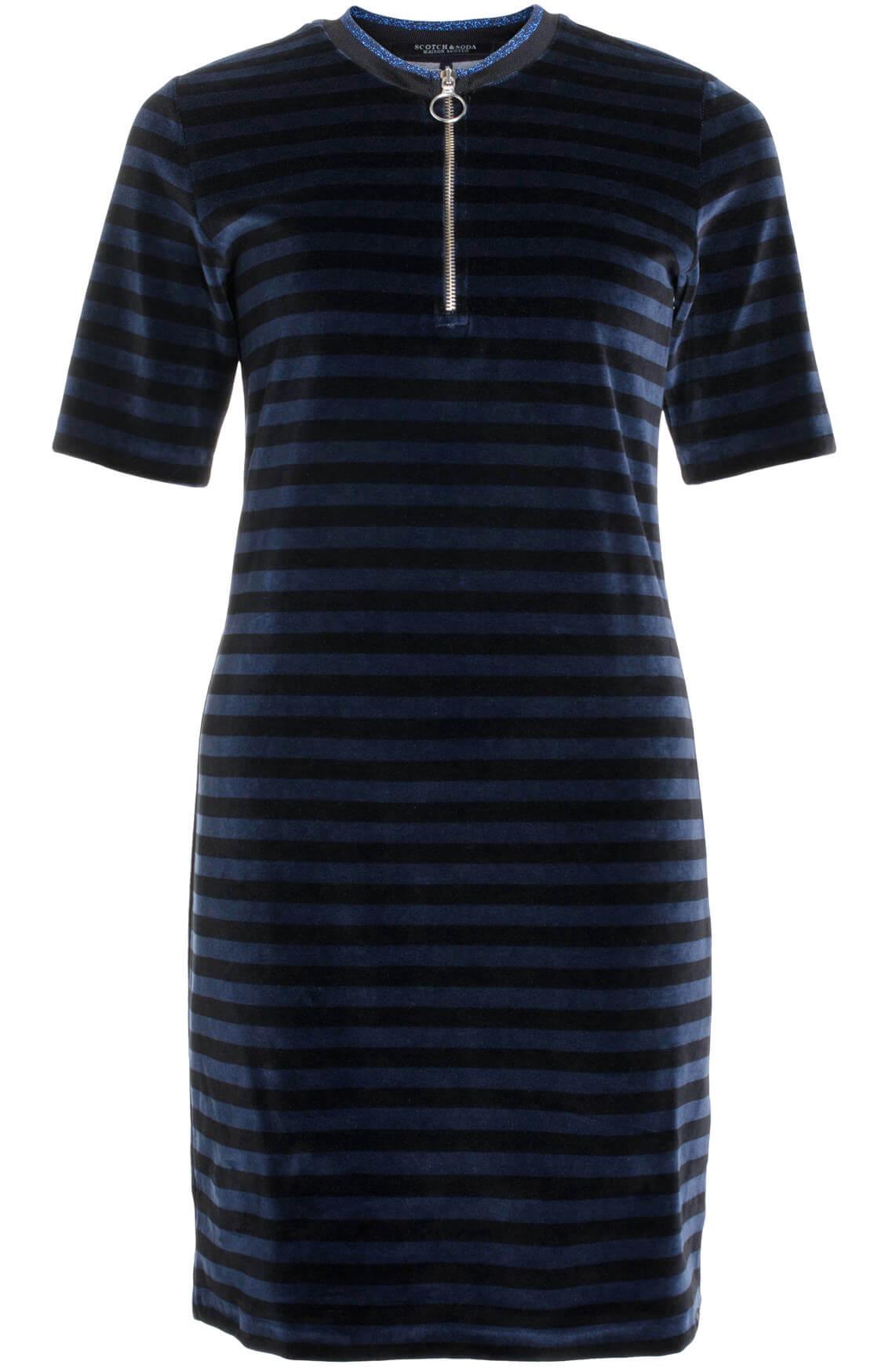 Maison Scotch Dames Gestreepte fluwelen jurk Blauw