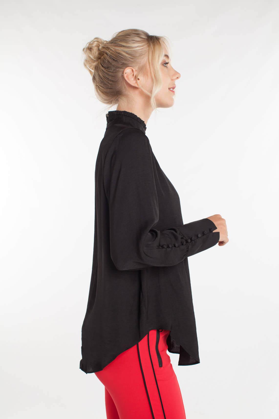 Second Female Dames Cora blouse met ruches zwart