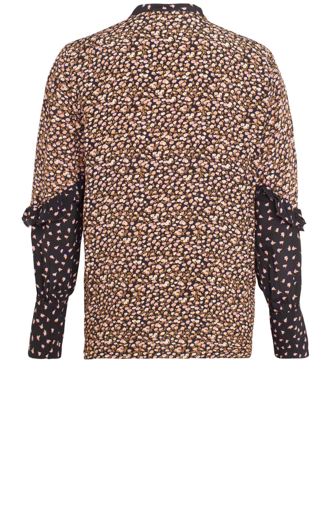 Second Female Dames Syrenia blouse met gekleurde print zwart