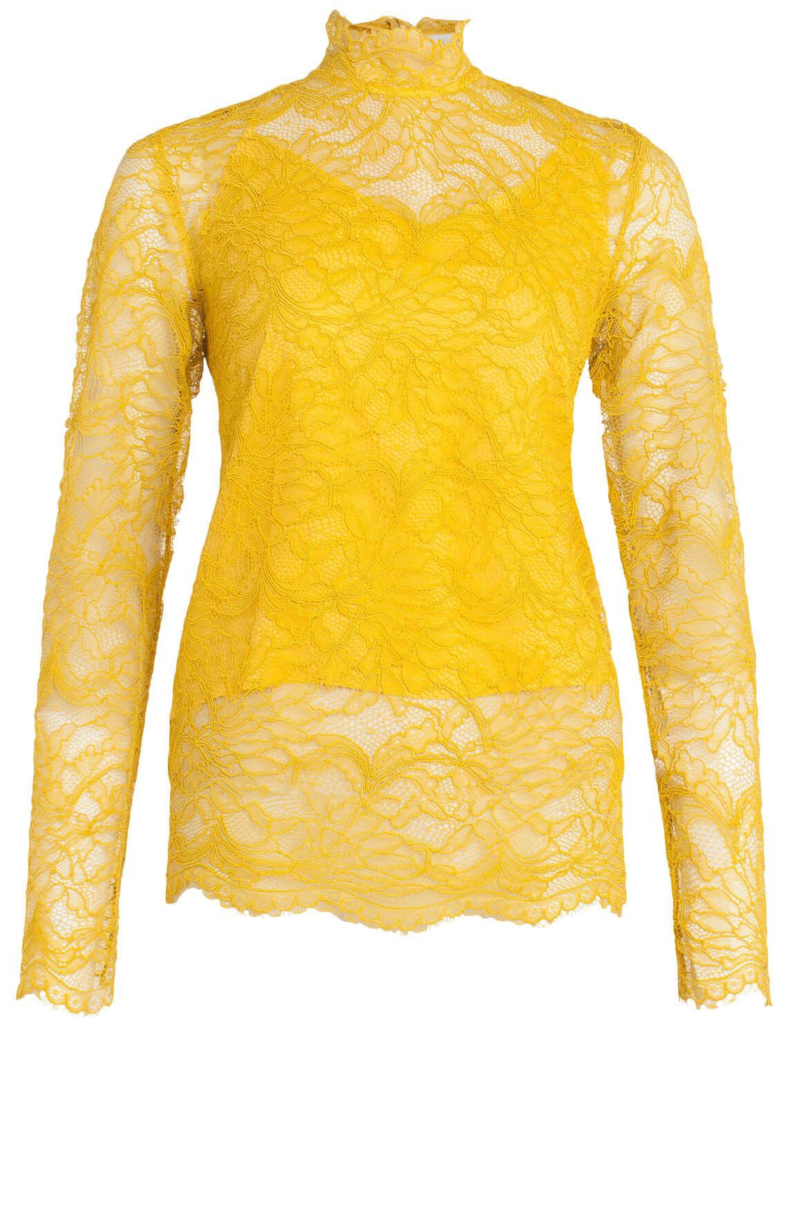 Second Female Dames Baldrina kanten shirt geel
