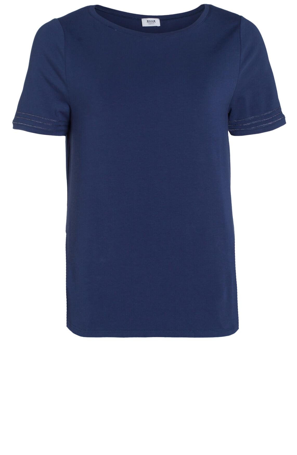 Anna Dames Basic shirt blauw Blauw