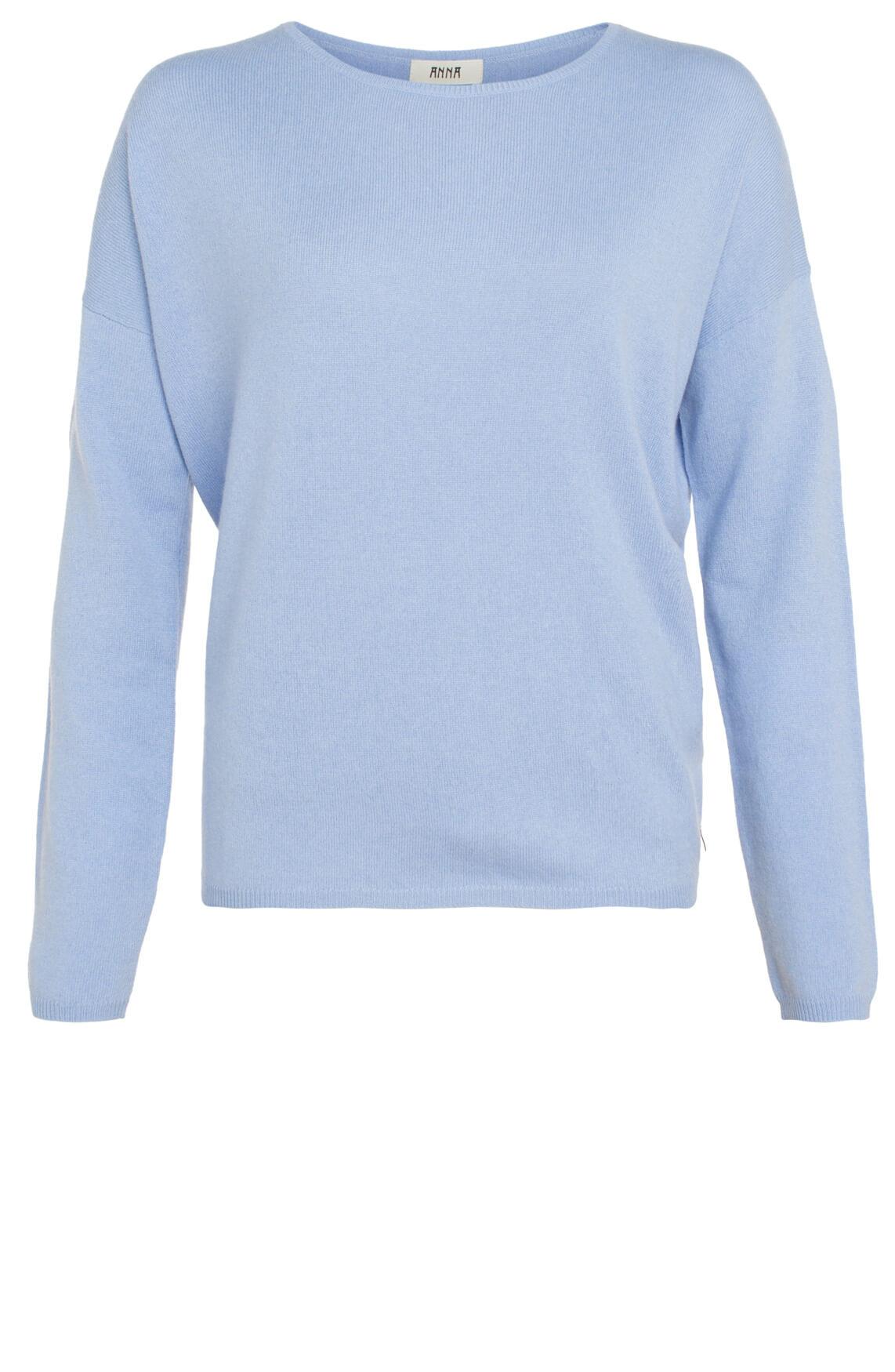 Anna Dames Cashmere pullover blauw Blauw