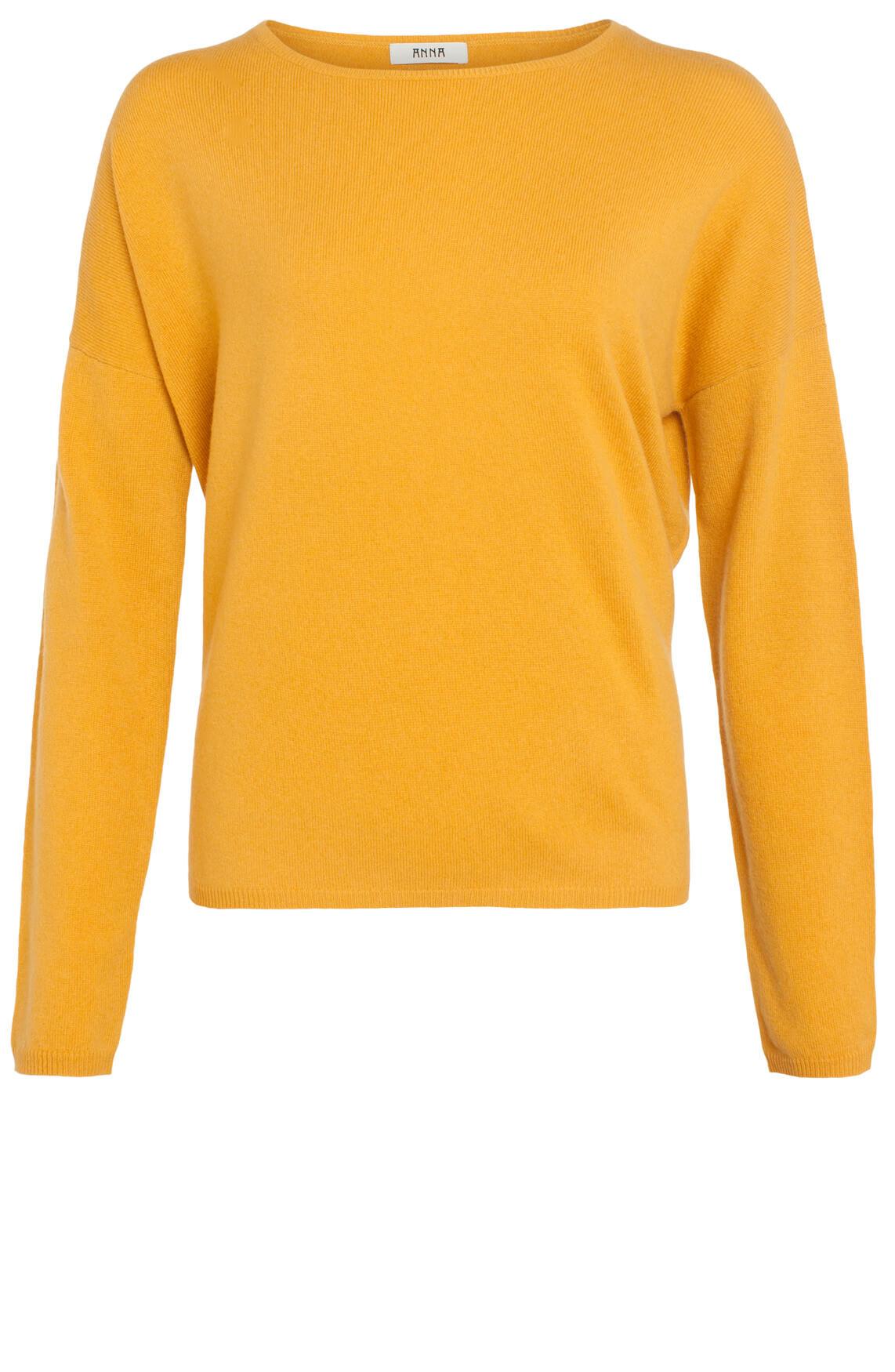 Anna Dames Cashmere pullover okergeel geel