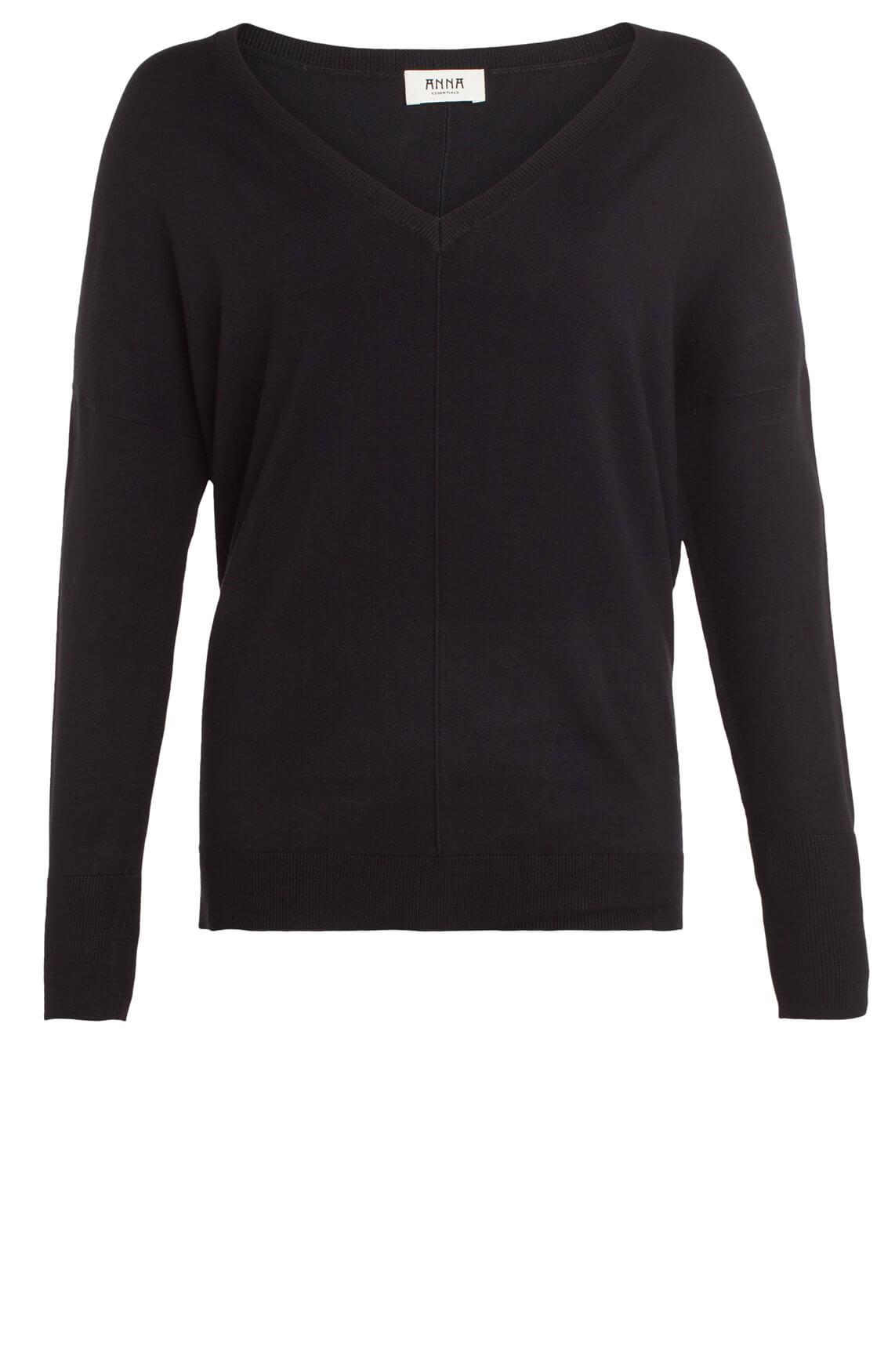 Anna Dames Pullover met v-hals zwart