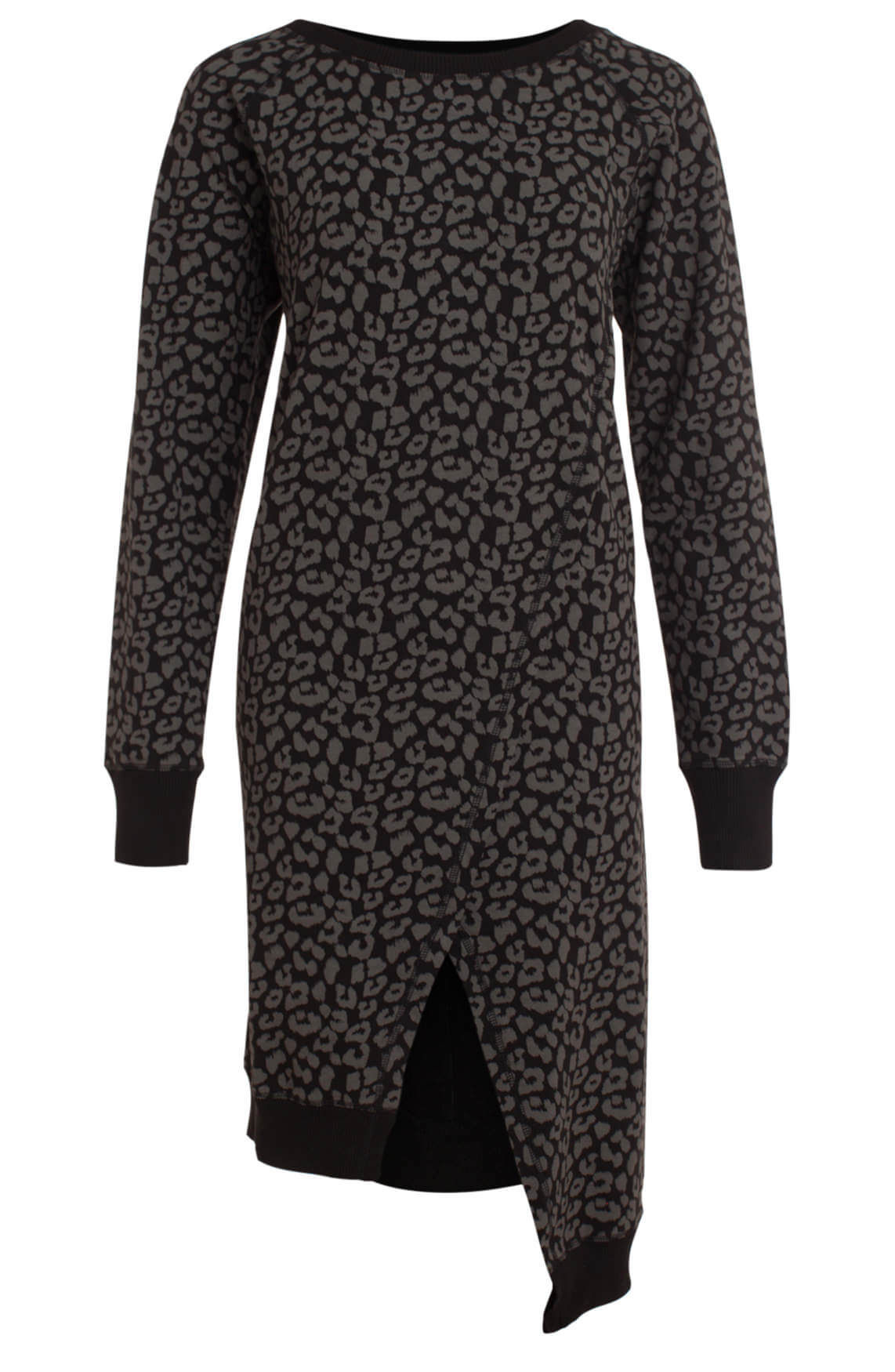 973bfe976c4dbd 10 Days Dames Panterprint jurk met overslag zwart