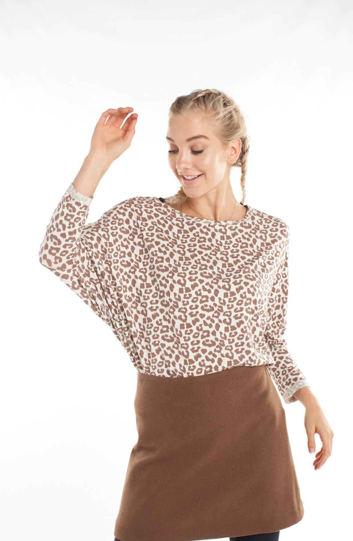 10 Days Dames Oversized shirt met panterprint Ecru