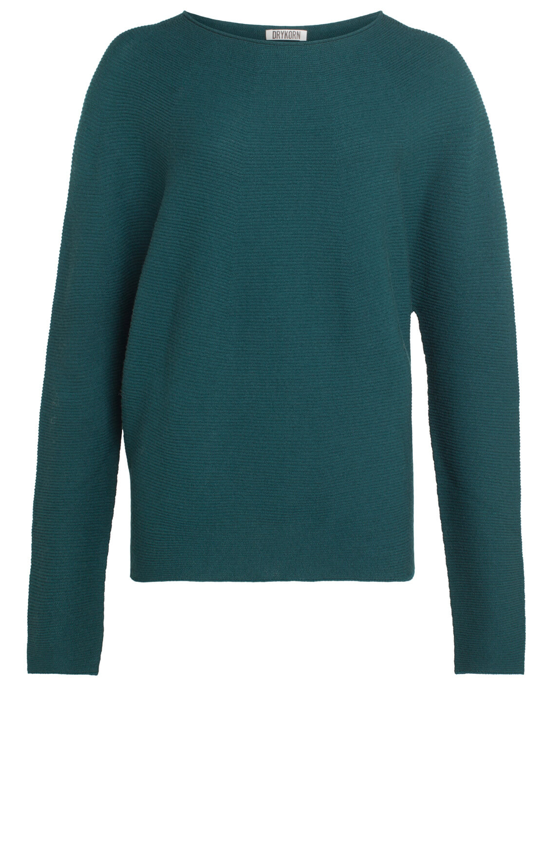Drykorn Dames Milty pullover met ribeffect groen